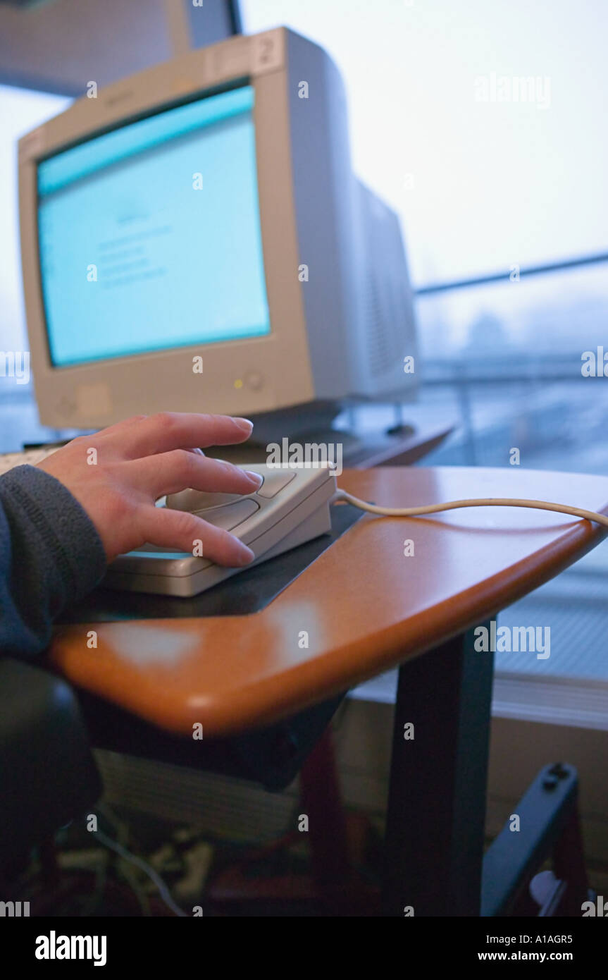 Someone using a specially adapted computer Stock Photo