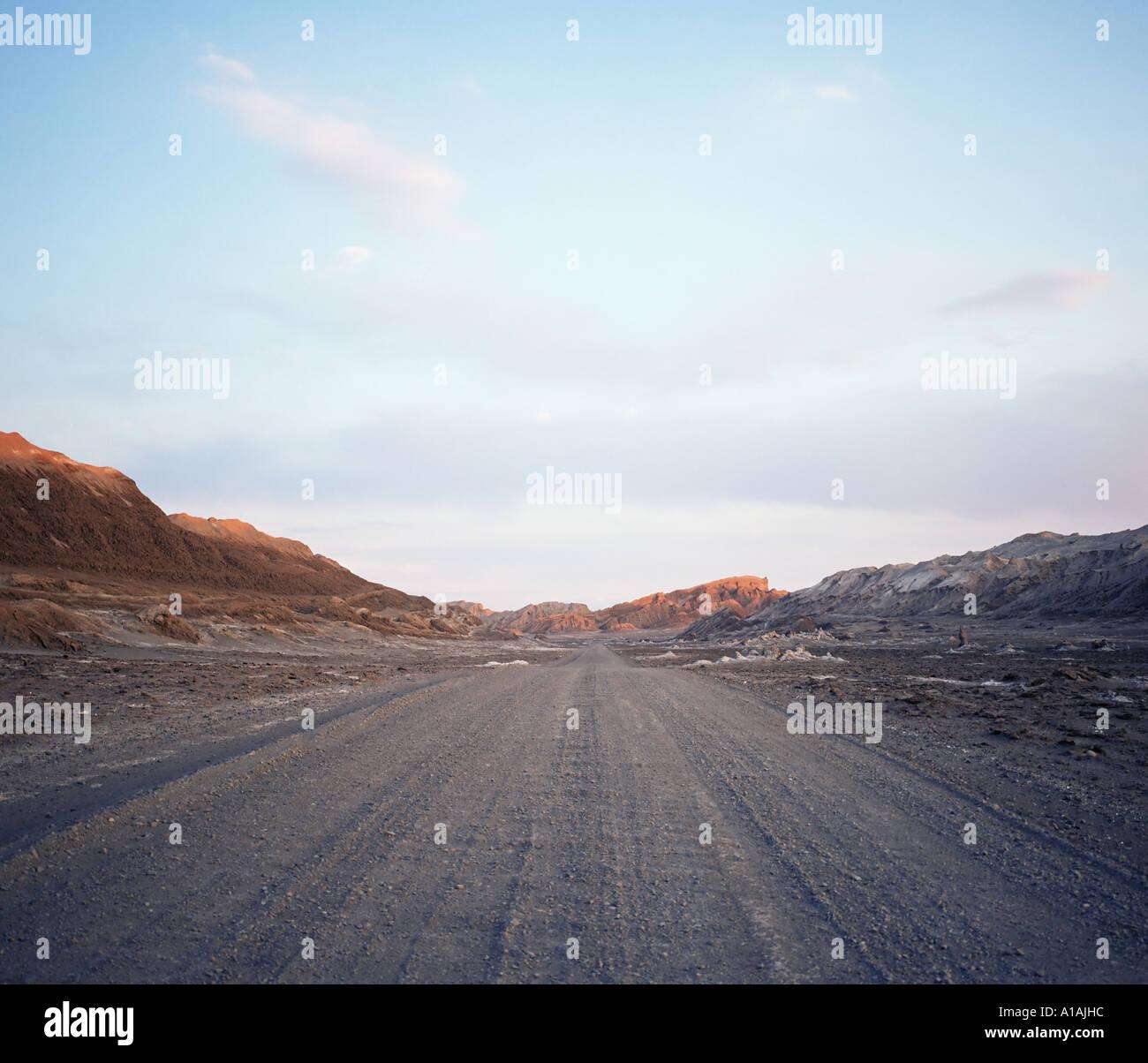 Road from Valle de la Luna Atacama Desert - Stock Image