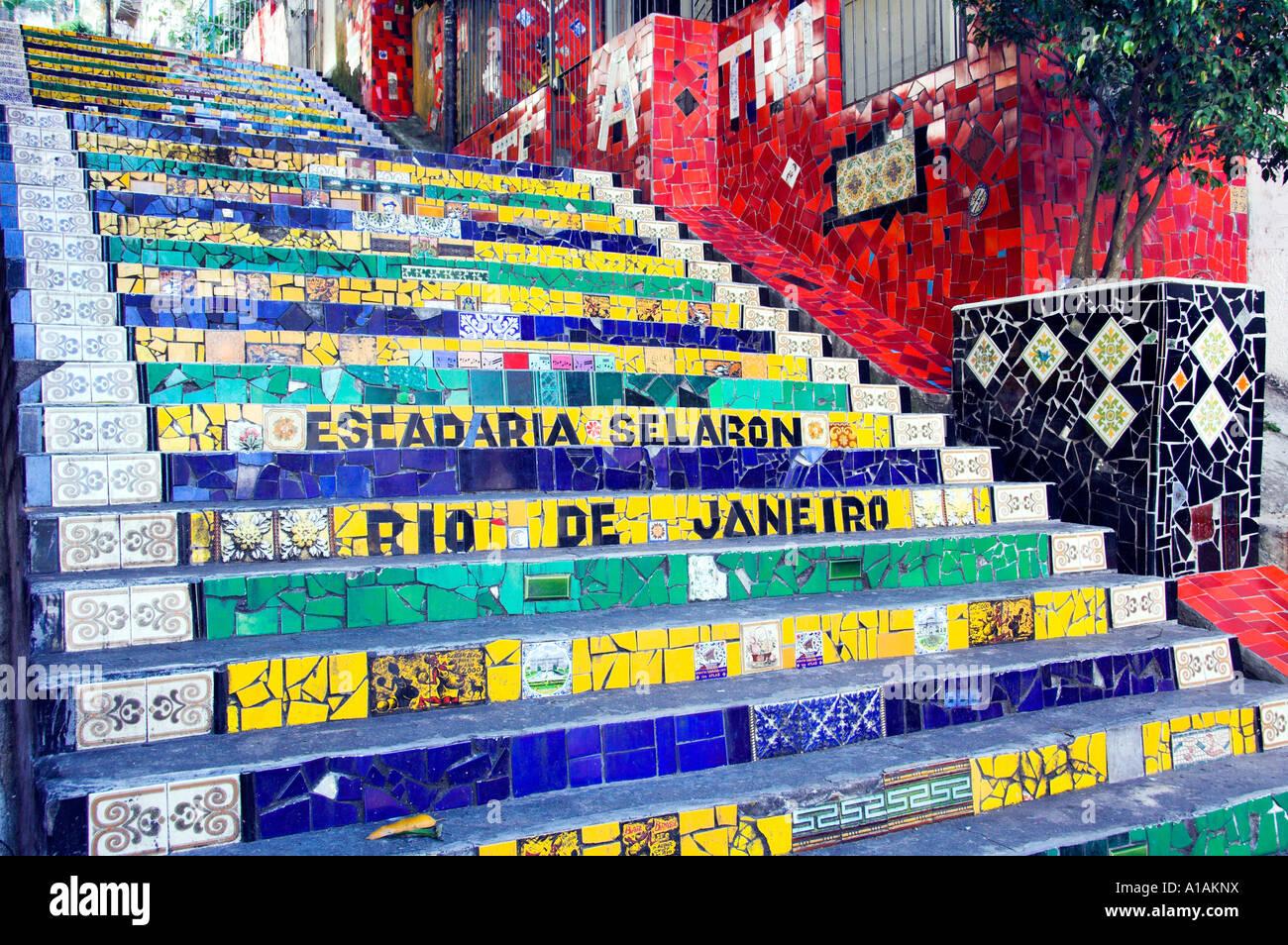 The Grand Staircase of colorful ceramic tile in the Santa Teresa ...