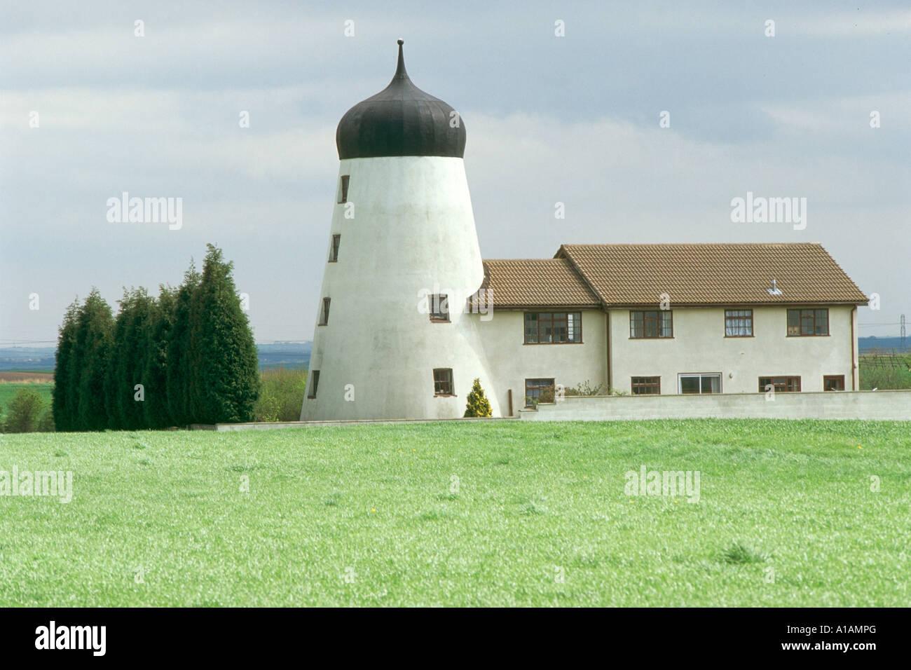 A huge white windmill Isle of Axholme - Stock Image