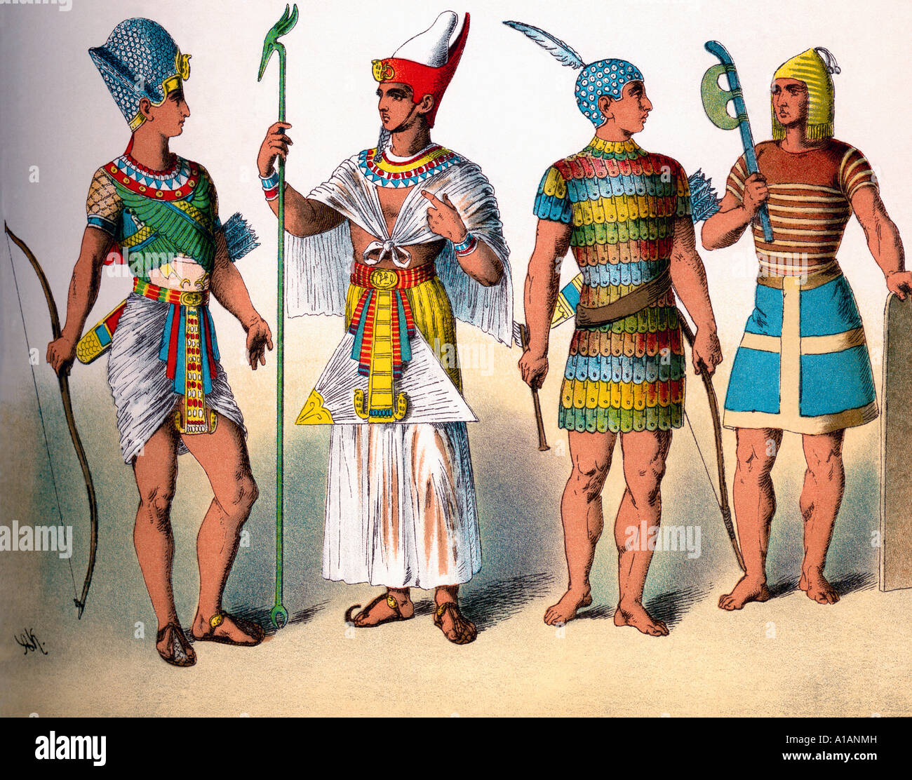 Dress of Ancient Egyptian King and Warriors - Stock Image