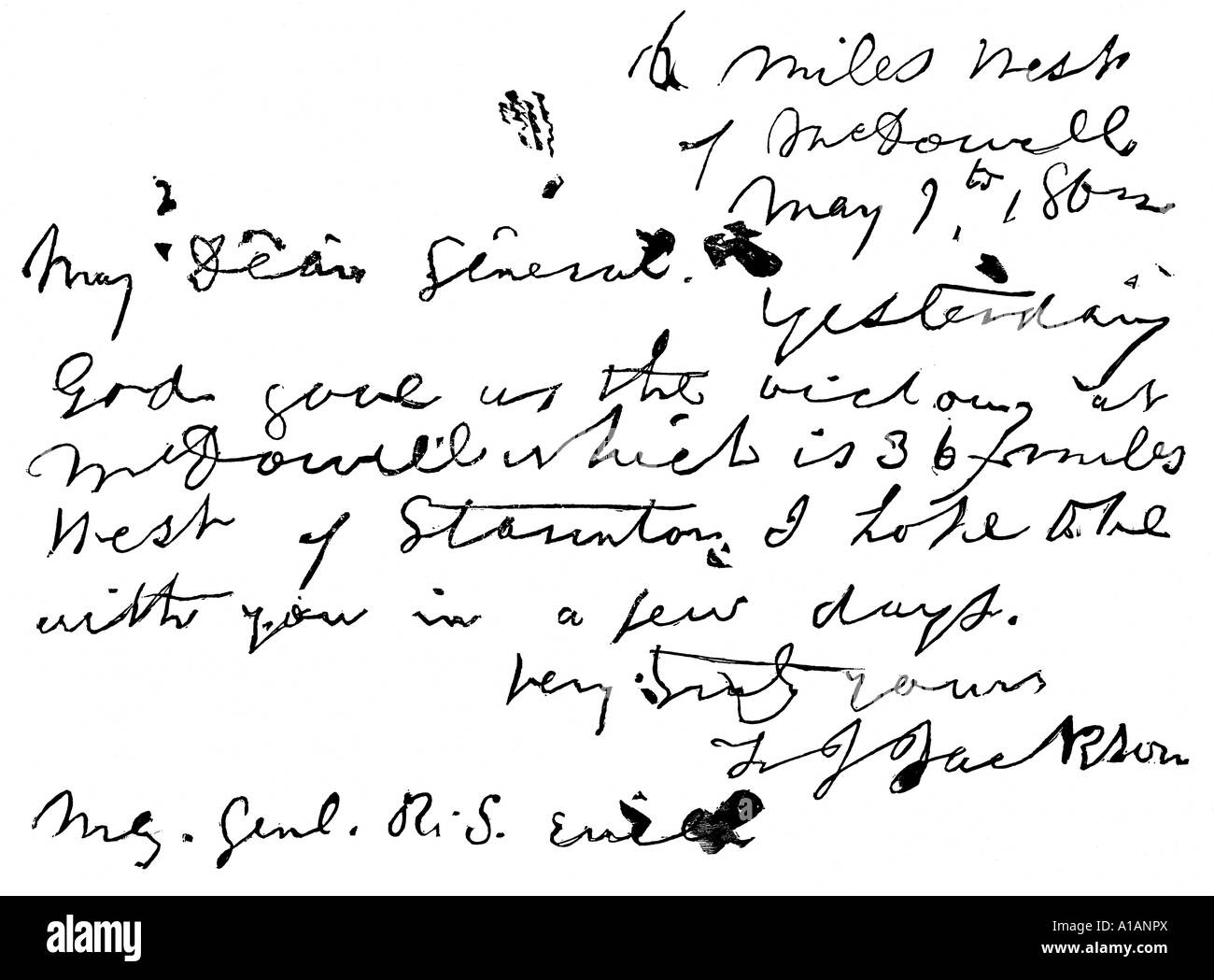 Letter of Stonewall Jackson to General ewell - Stock Image
