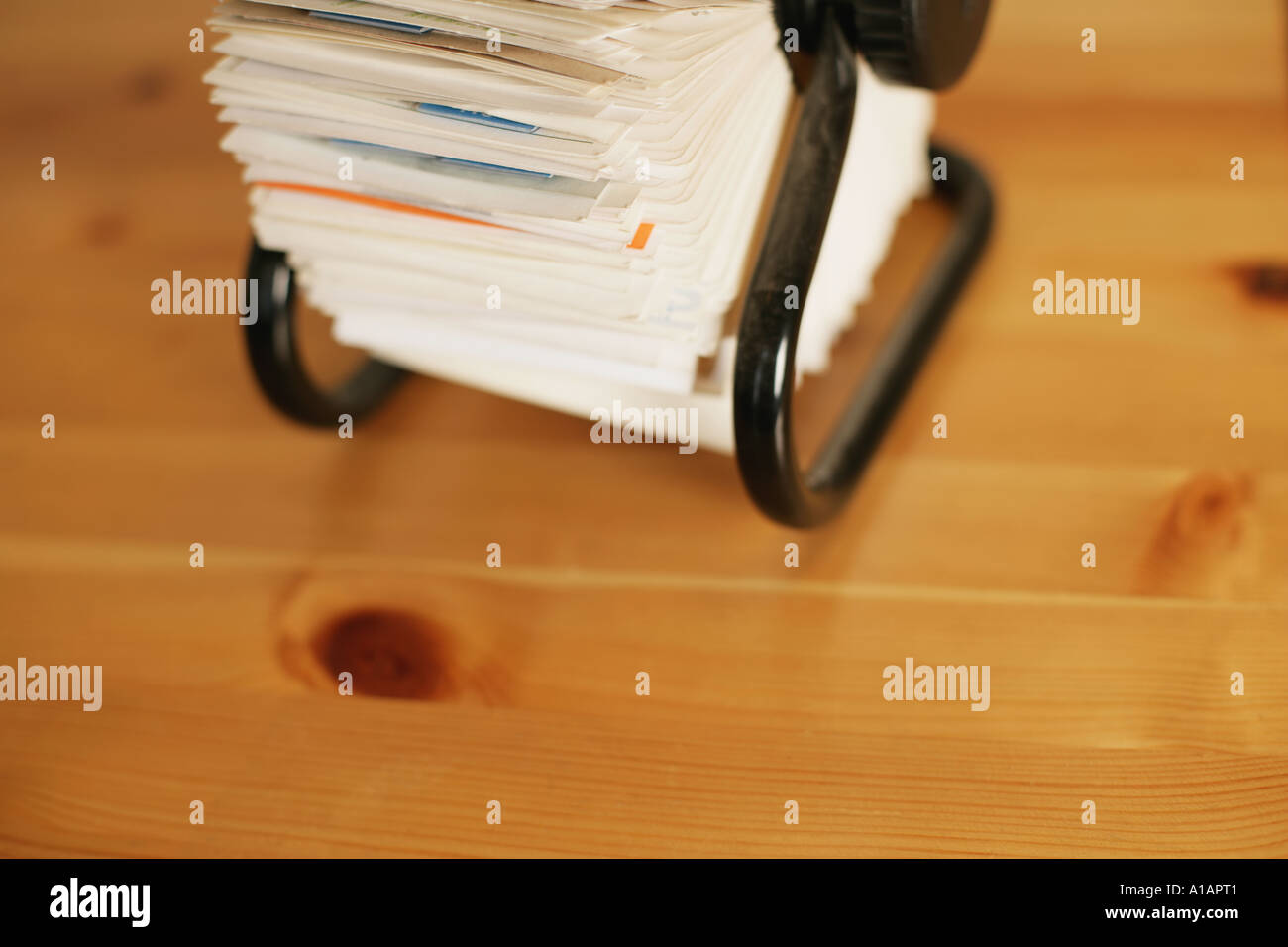 Rotary card file on a desk - Stock Image