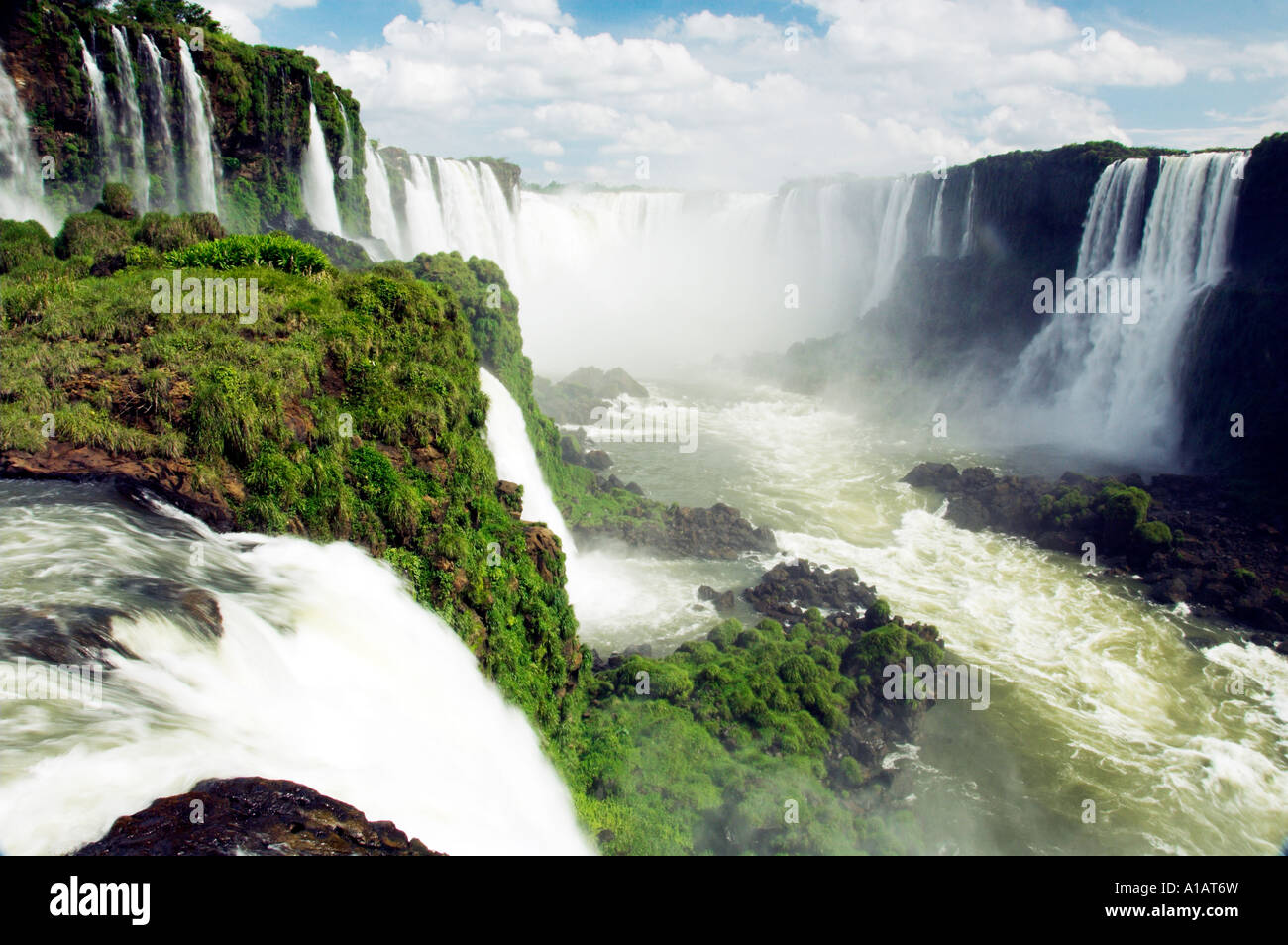 The Iguassu Falls  Devils Throat and the Iguassu river gorge as viewed from the Brazilian side. - Stock Image