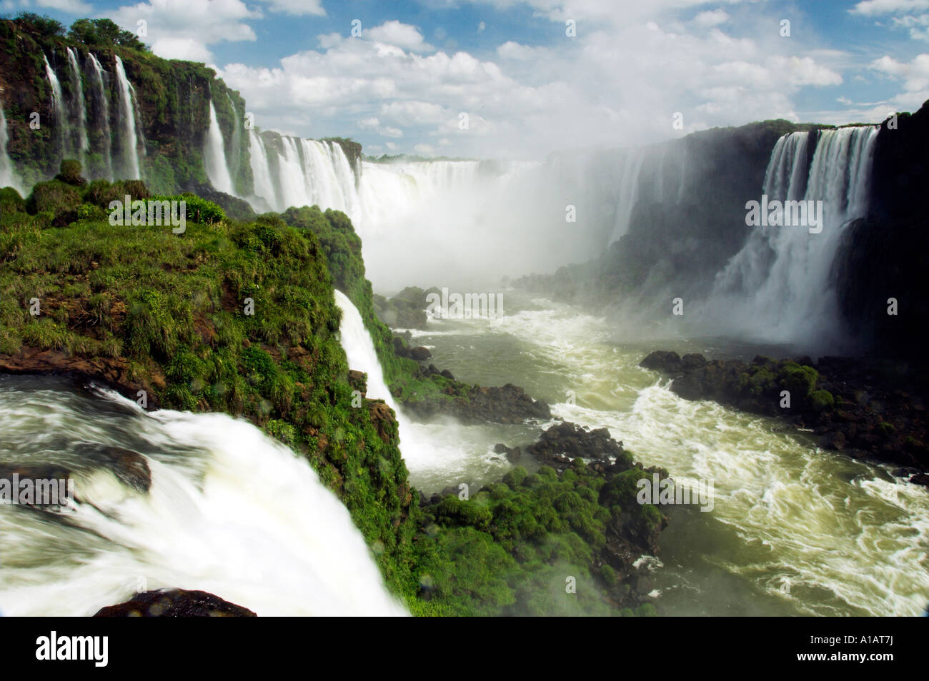 The Iguassu Falls Devils Throat and the Iguassu river gorge as viewed from the Brazilian side - Stock Image