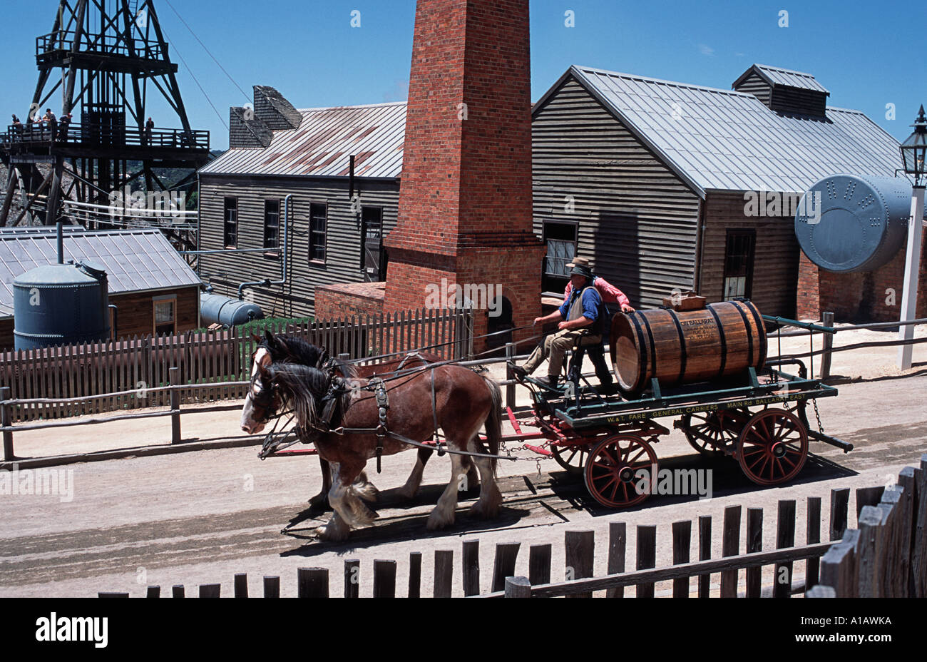 Horse drawn carriage on the street of Ballarat A theme park attraction with an outback colonial flavour Ballarat Australia - Stock Image