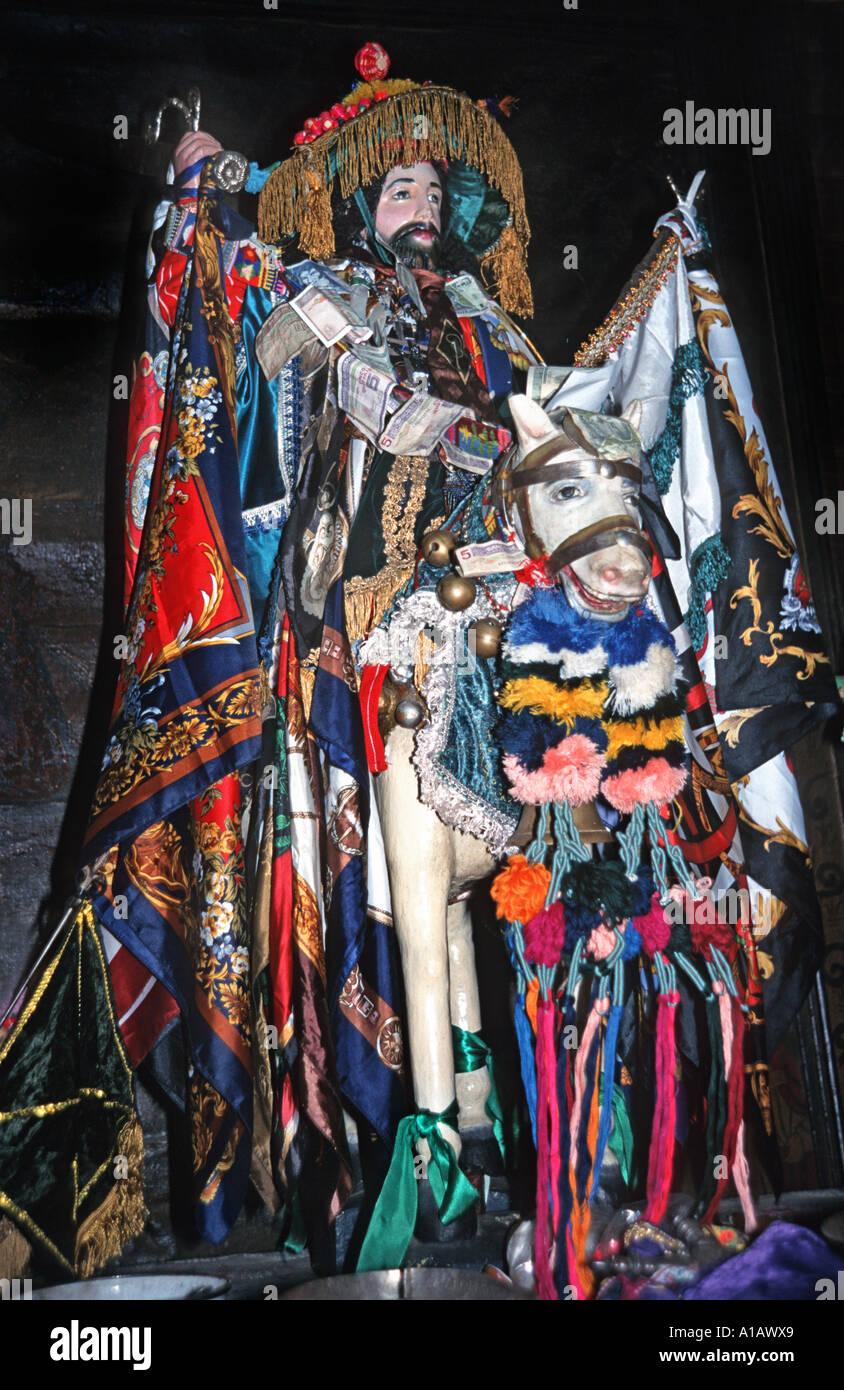 Patron Saint of Santiago Atitlan Saint James on a horse Saint Santiago Santiago Atitlan Lake Atitlan Guatemala - Stock Image