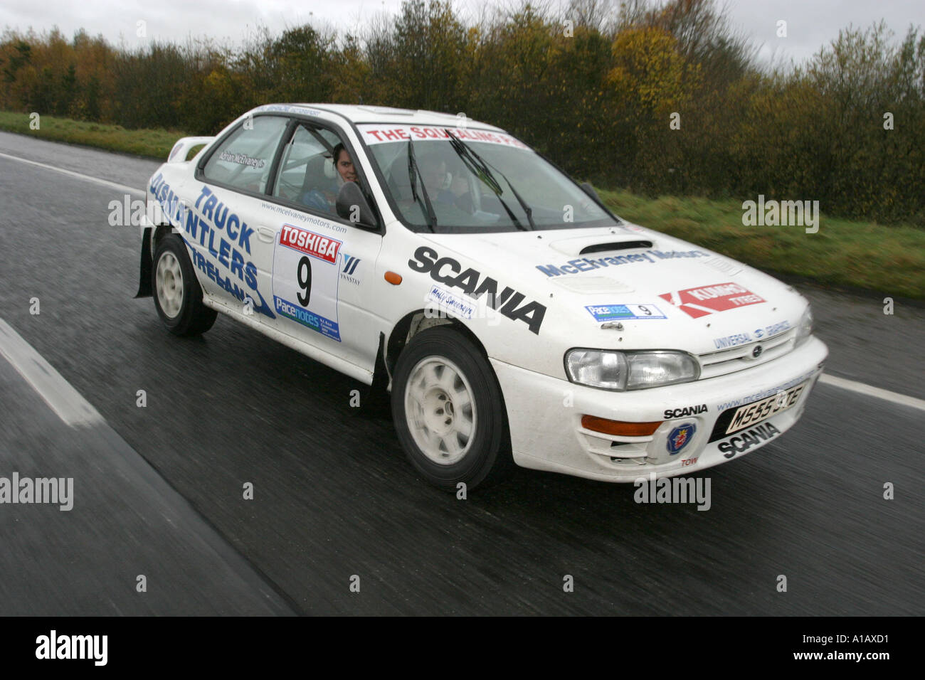 Subaru Impreza Rally Car On The M2 Outside Ballymena On The Way To