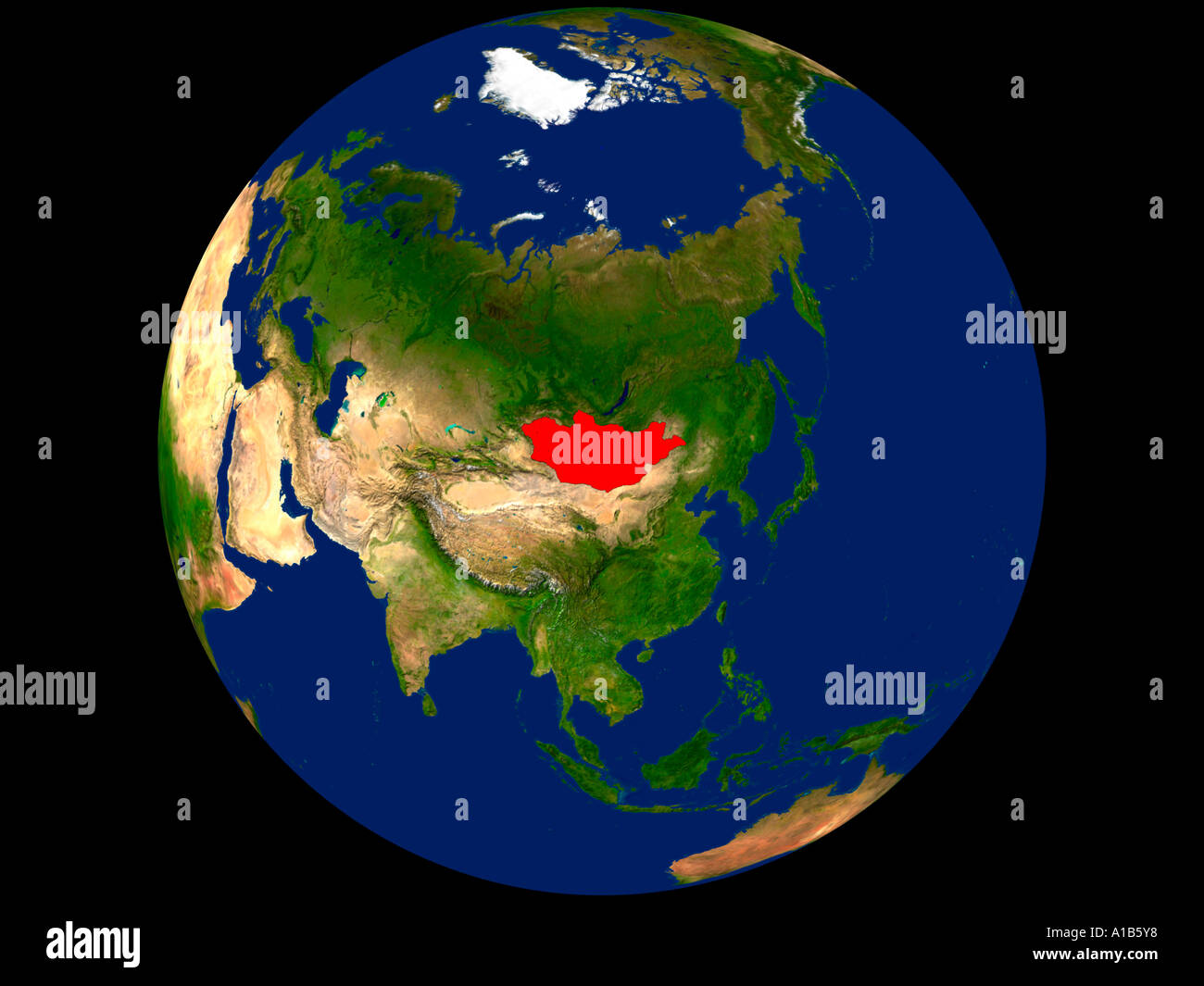 Picture of: Satellite Image Of Earth Showing Mongolia Highlighted Red Stock Photo Alamy