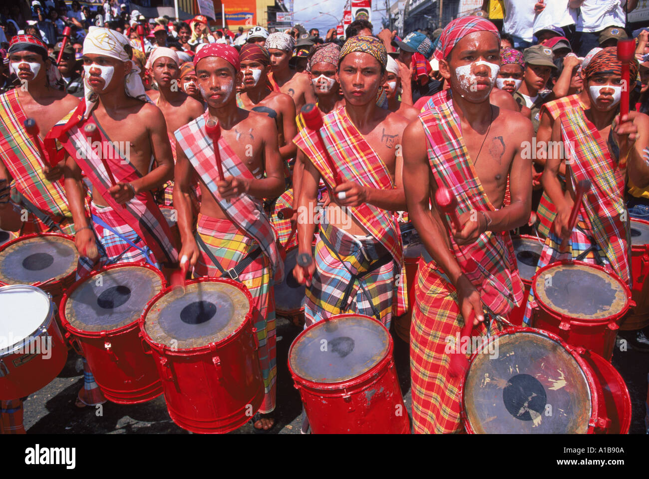 Portrait of a group of drummers during the Mardi Gras carnival Dinagyant in Iloilo City Panay Island Philippines Asia A Evrard - Stock Image