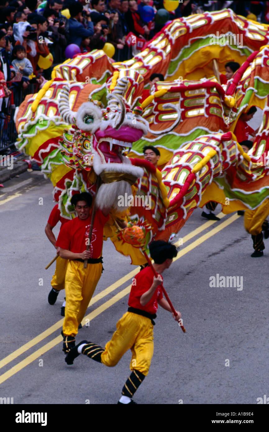 Dragon Dance Chinese New Year Carnival Hong Kong China A Evrard - Stock Image