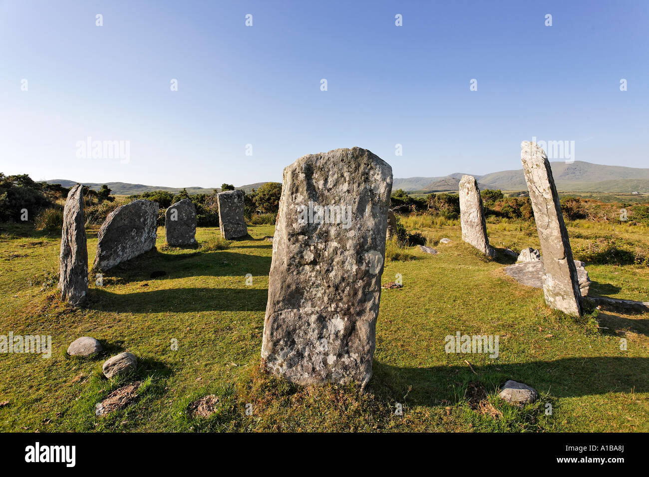 Stone circle Derrintaggart West, Castletownbere, Ireland - Stock Image