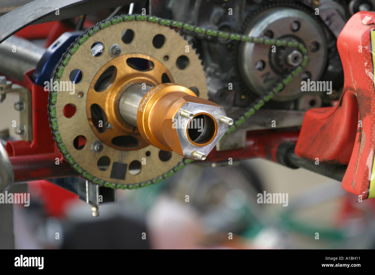 Close up of direct drive kart rear axle hub and chain drive Northern Ireland - Stock Image