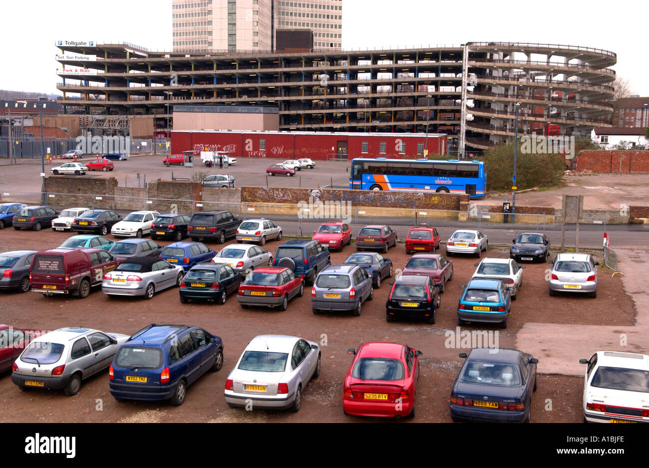 Open air and multistory car park in Bristol city centre England UK - Stock Image