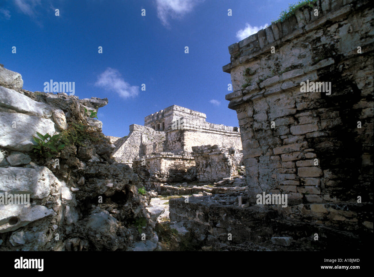 Tulum Maya Ruins pyramid - Stock Image