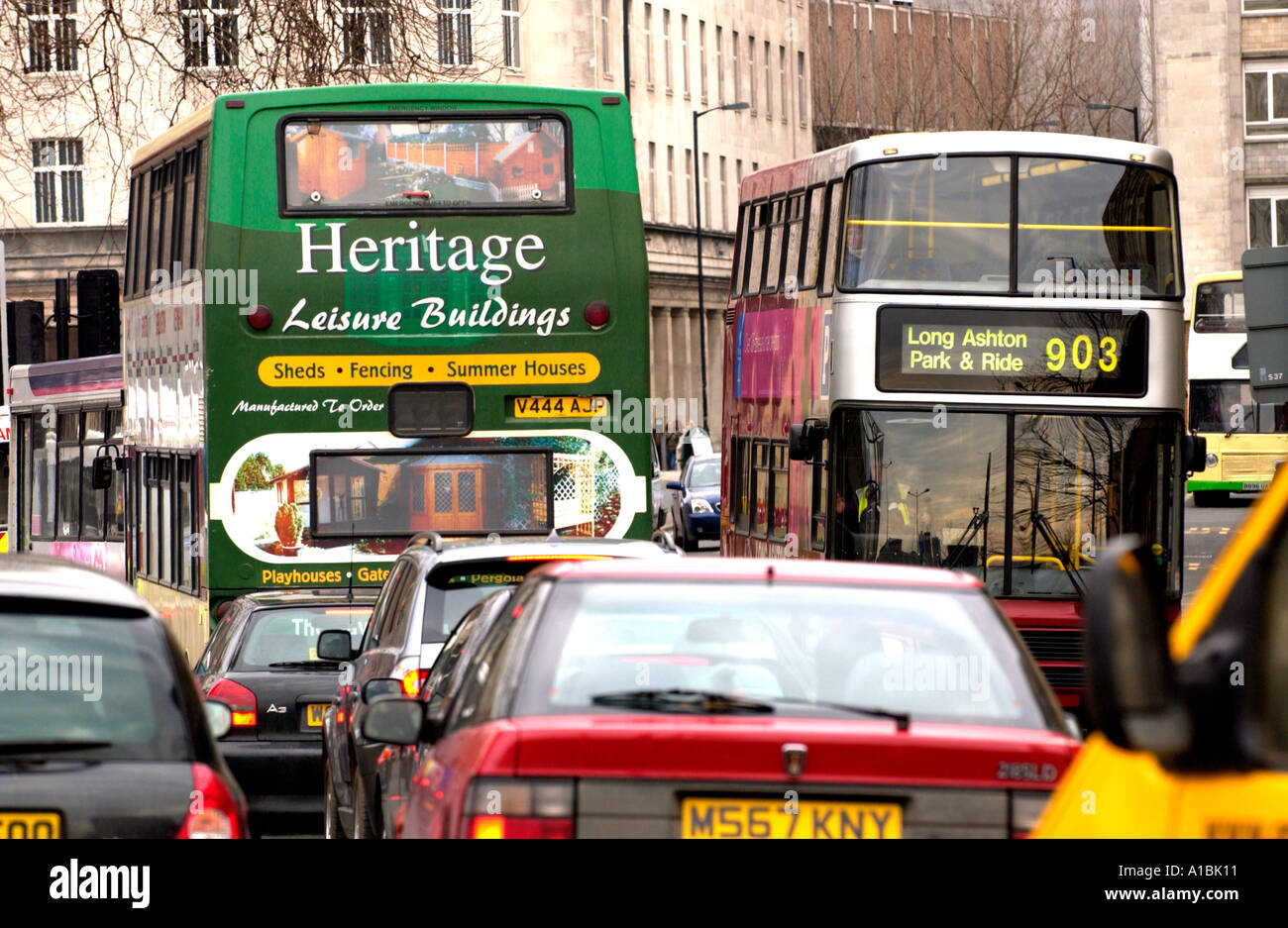 Traffic congestion with buses and cars in Bristol city centre England UK - Stock Image
