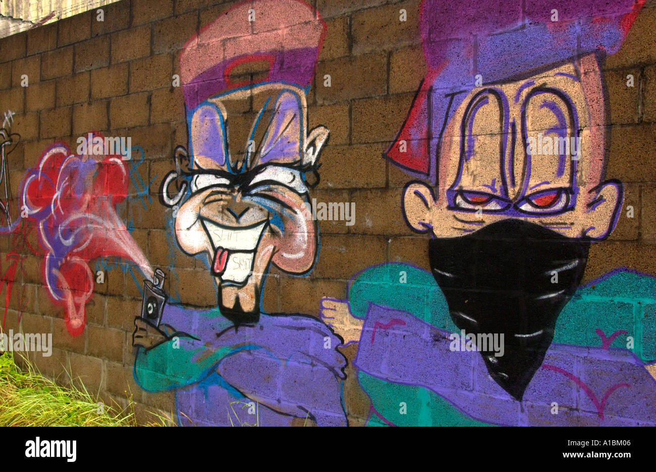 Urban graffiti art on wall of a building in city of newport south wales uk