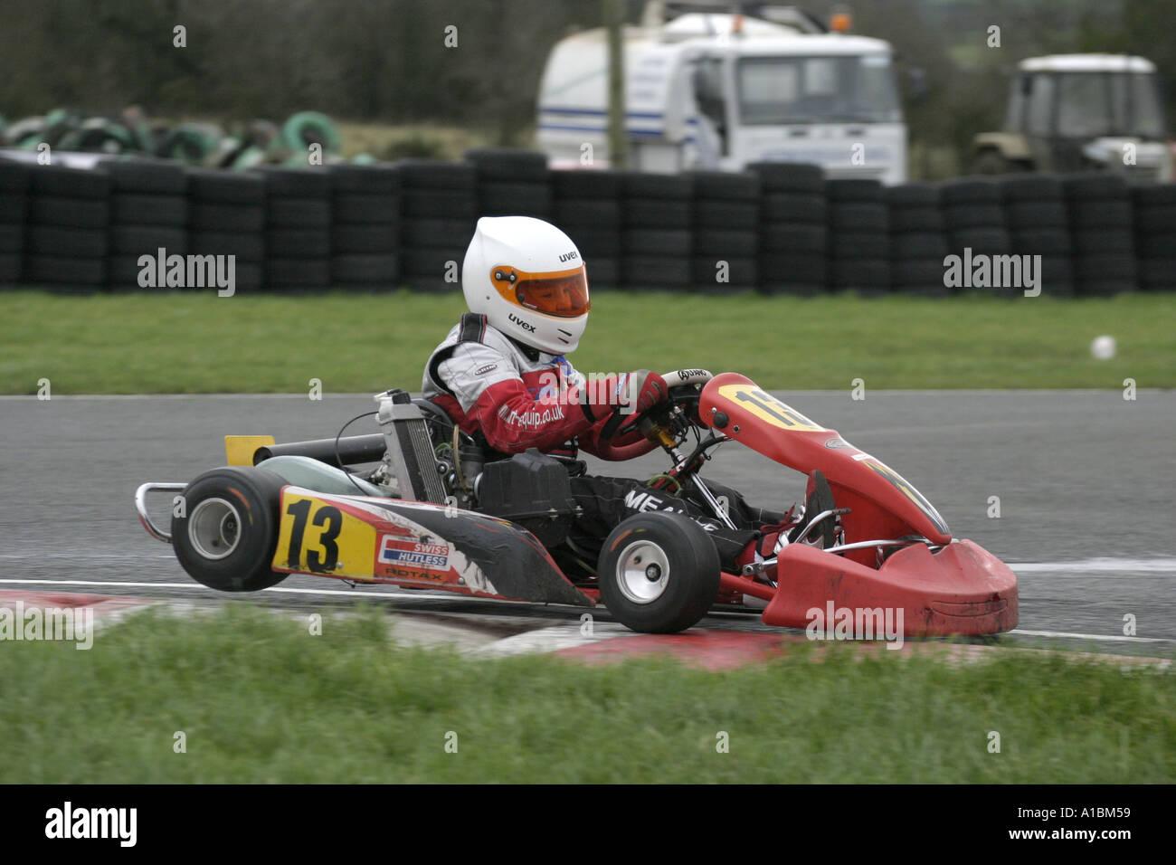 kart over ireland Mini Max kart driver rides over the kerb corner at Nutts Corner  kart over ireland