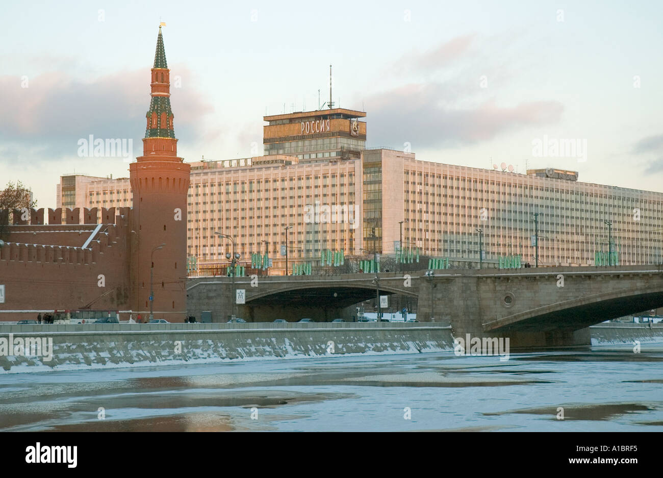 Built in 1967 the Hotel Rossiya was a stone s throw from Red Square and the Kremlin. Demolished in 2006. - Stock Image
