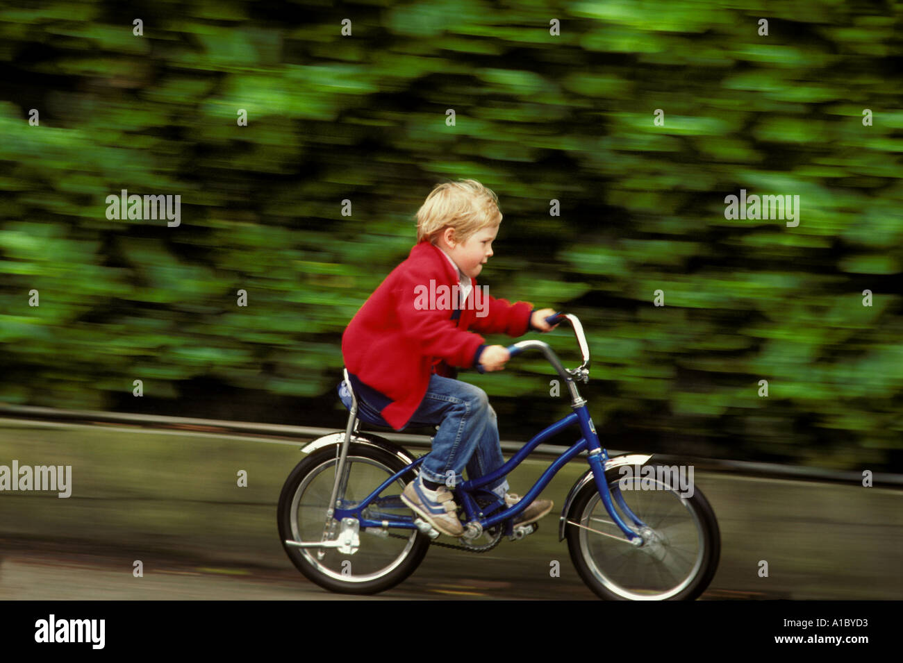A six year old boy speeds determinedly on his first bicycle Stock Photo