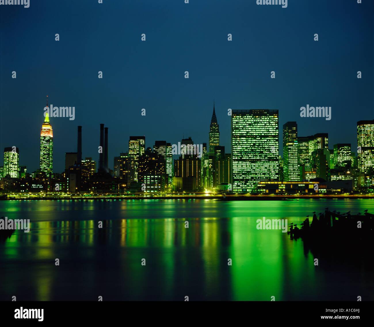 New York City night Manhattan - Stock Image
