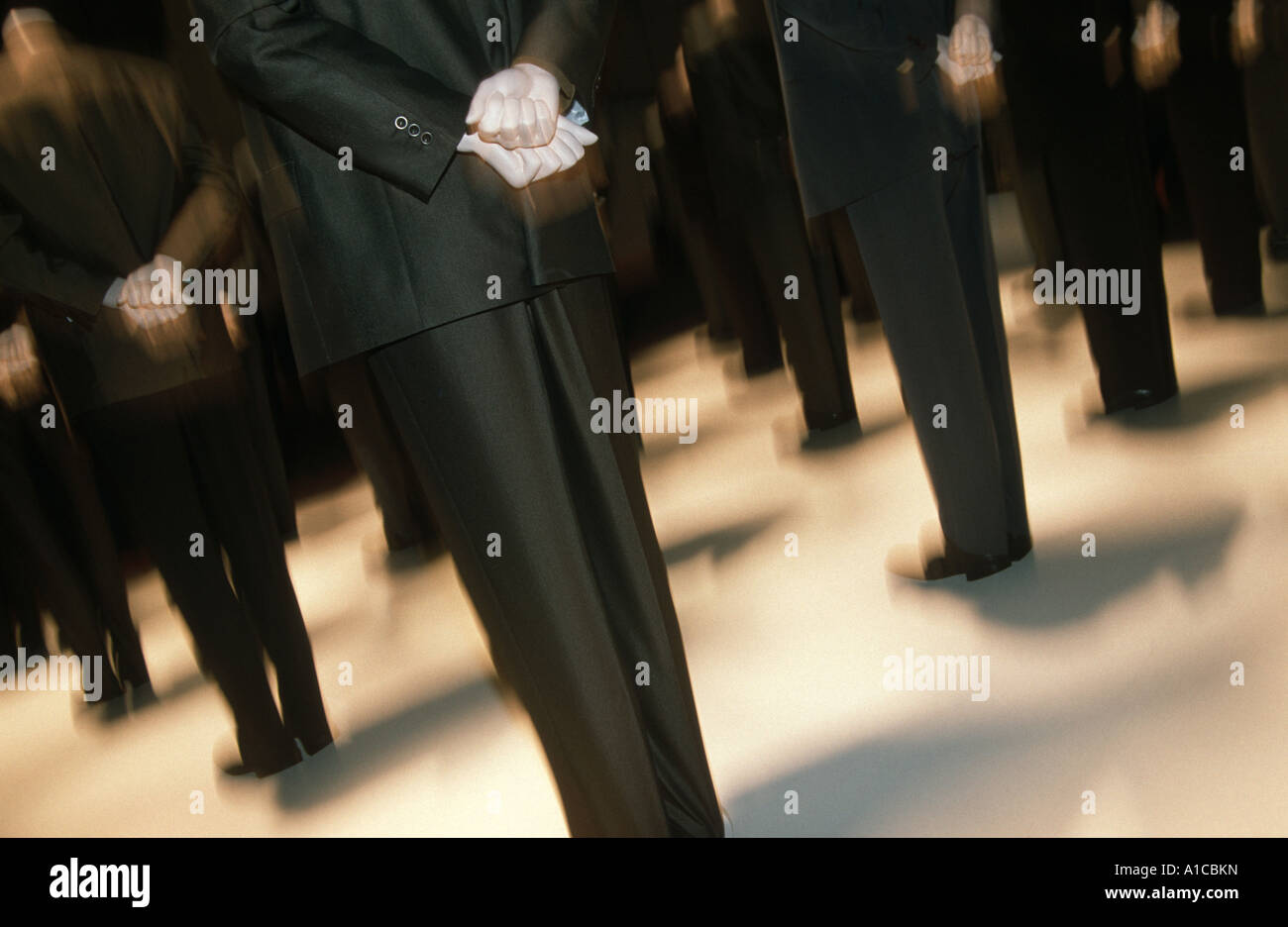 wait stand in line queue patience   men people - Stock Image