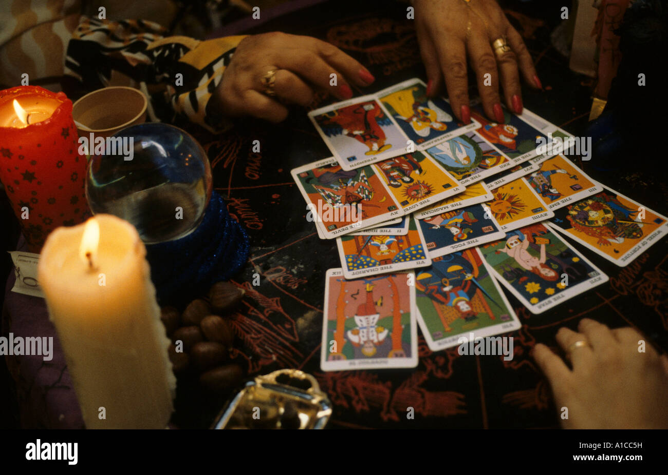 Completely new astrology fortune teller tarot card reader psychist Stock Photo  BT69