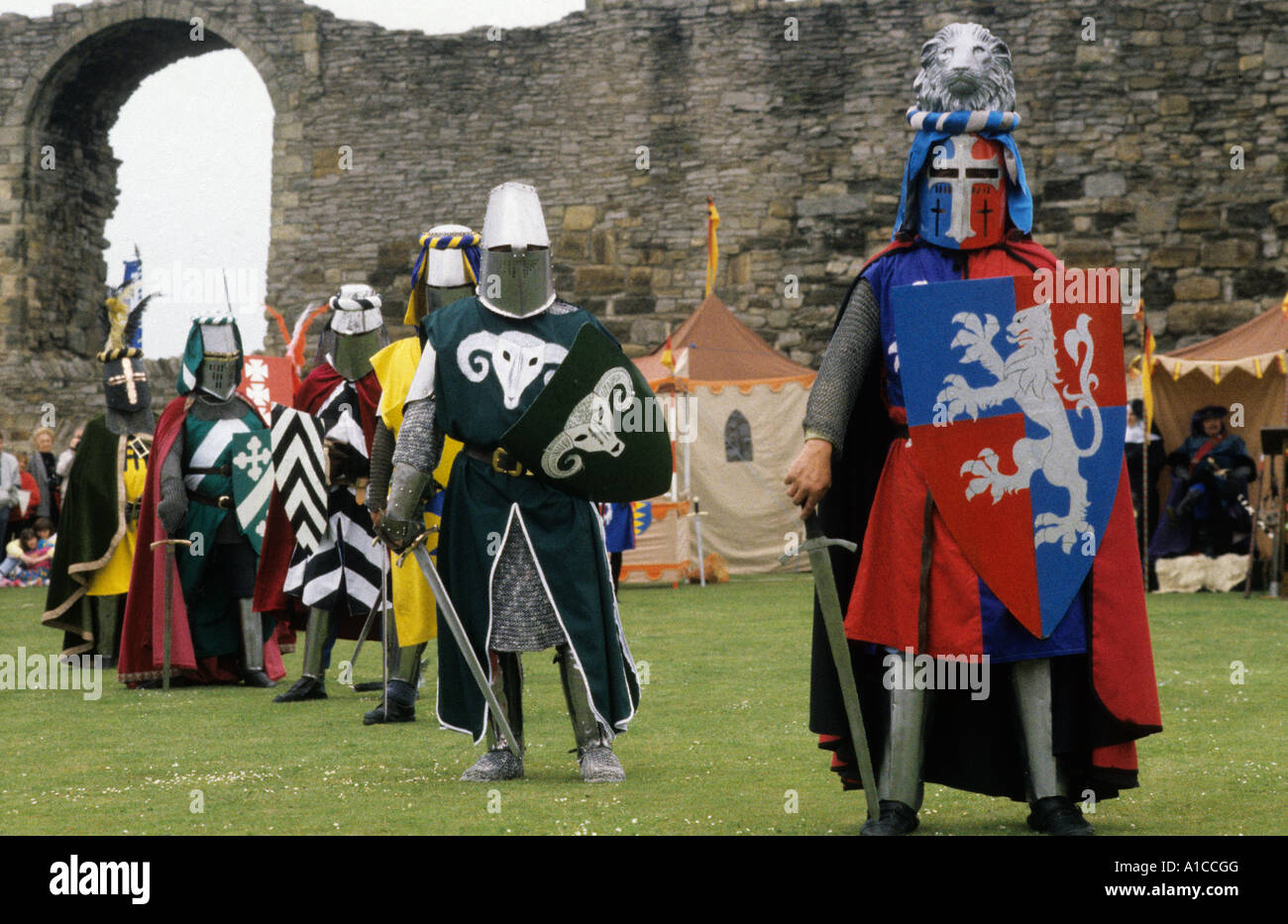 Re enactment Medieval Knights shields coats of arms - Stock Image