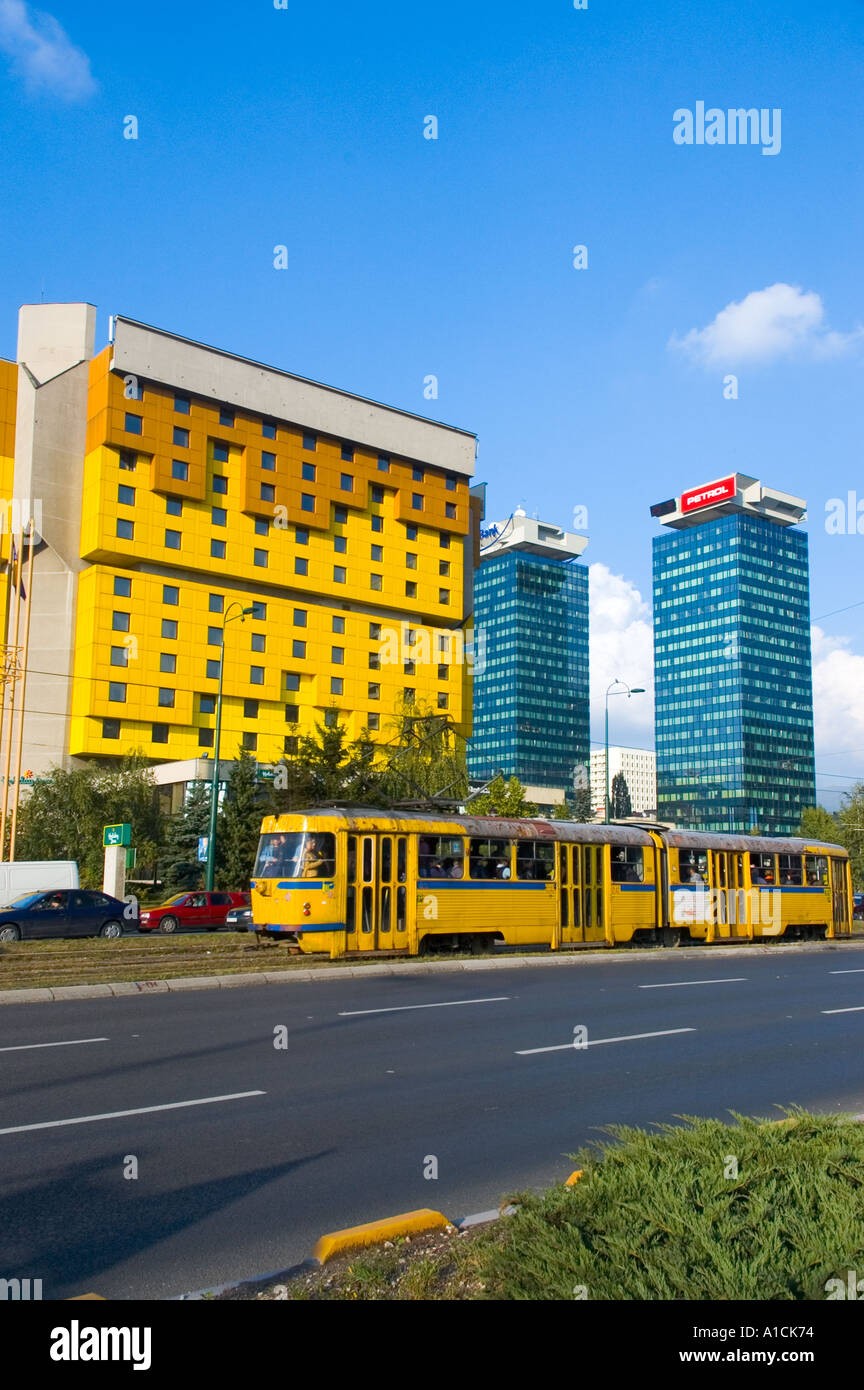 Bosnia Hercegovina Sarajevo Holiday Inn and tram on Sniper s Alley - Stock Image
