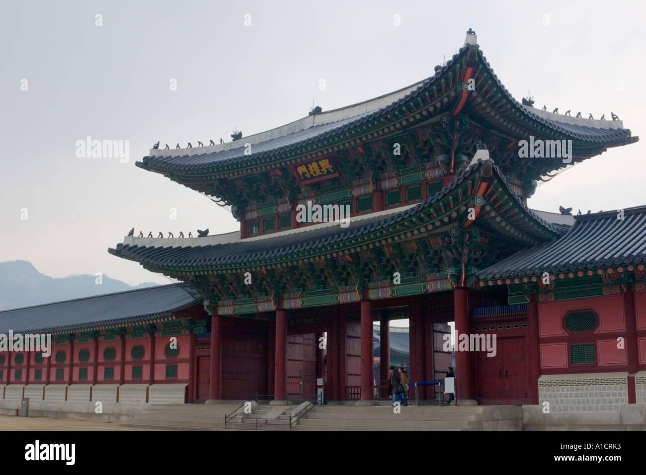 Geunjeongmun gate Gyeongbokgung Palace Seoul South Korea AsiaStock Photo