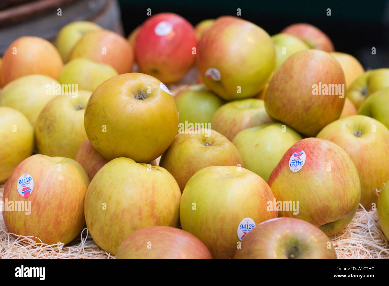 Fuji apples at the Ferry Building in San Francisco California United States of AmericaStock Photo