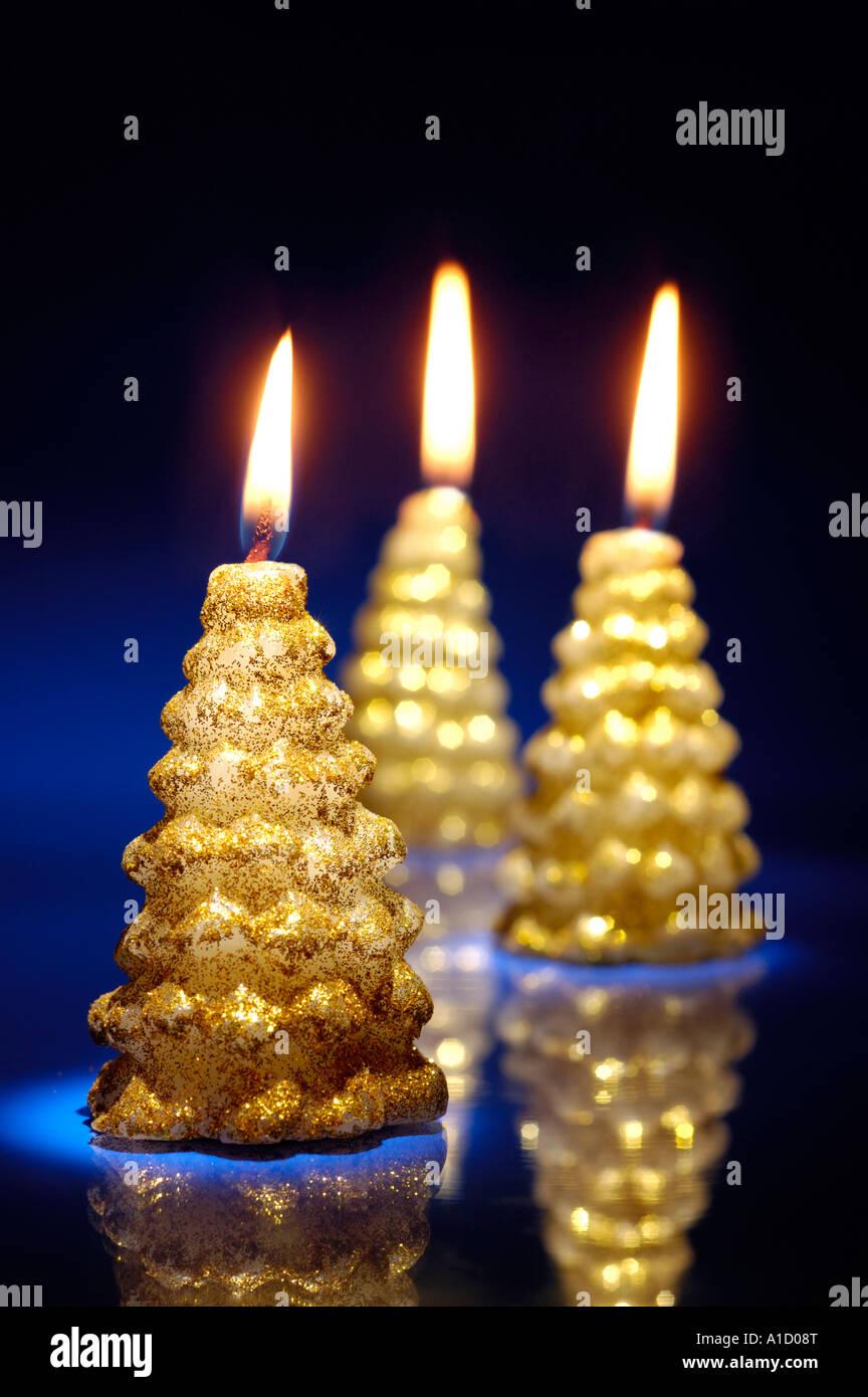 christmas lights burning xmas tree candles artistic still life