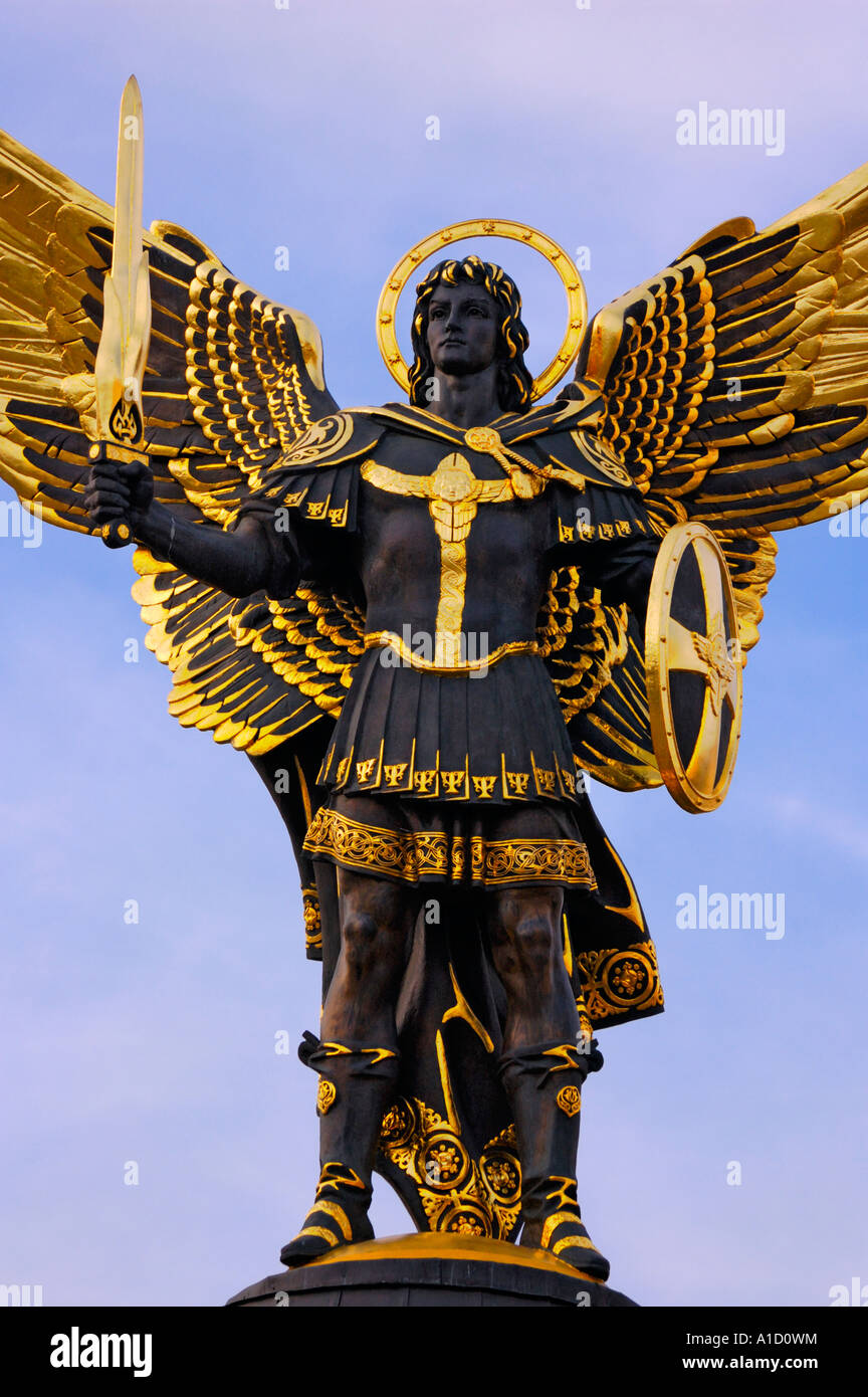 Archangel Michael Sculpture In Kiev Symbol Of Ukraine Stock Photo