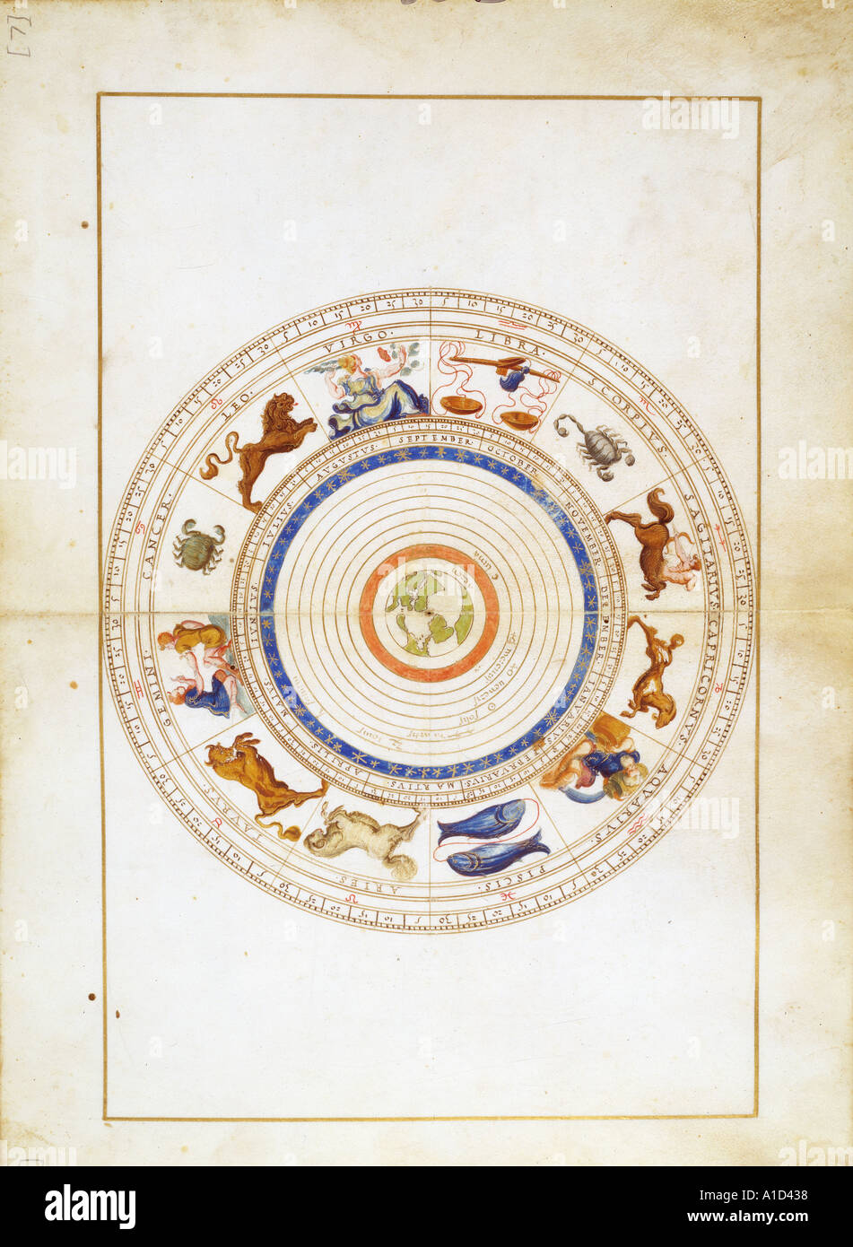 Signs of the Zodiac from Portolan Atlas of the World - Stock Image