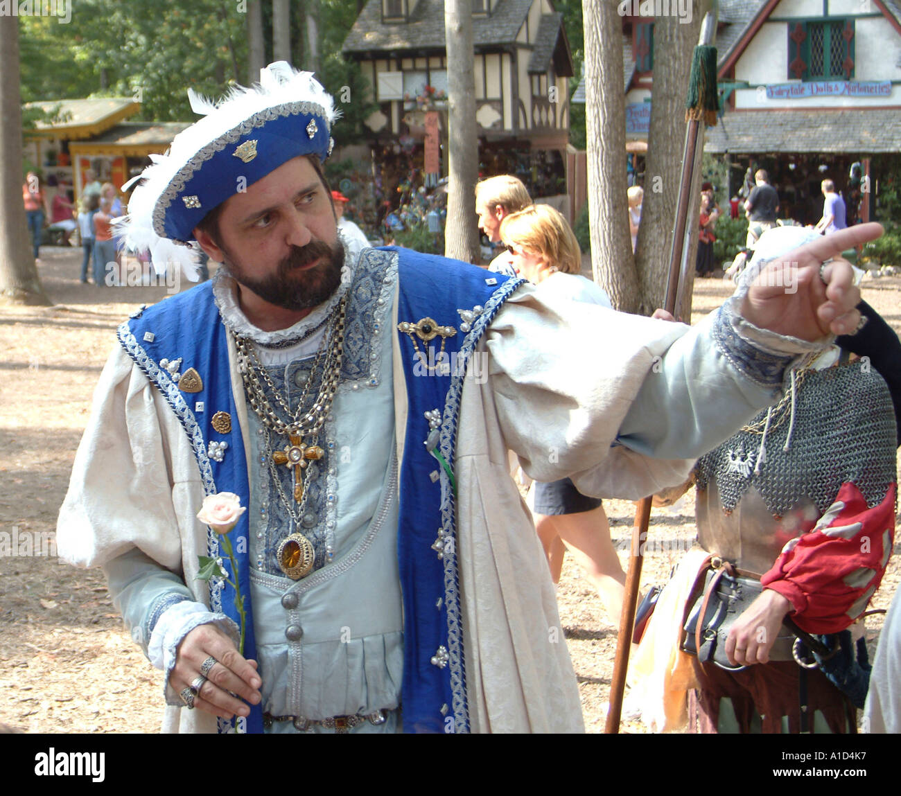 man playing King Henry at the Renaissance Festival in Crownsville Md - Stock Image