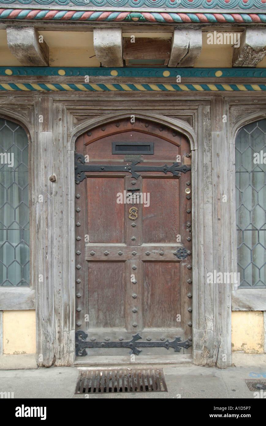 Front Door Stone Step Tudor Elizabethan Black White Half Timber Timbered  England UK United Kingdom