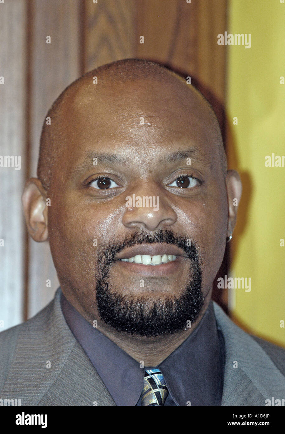 Cecil Fielder a former major league baseball player attends an MBC Network news briefing. - Stock Image