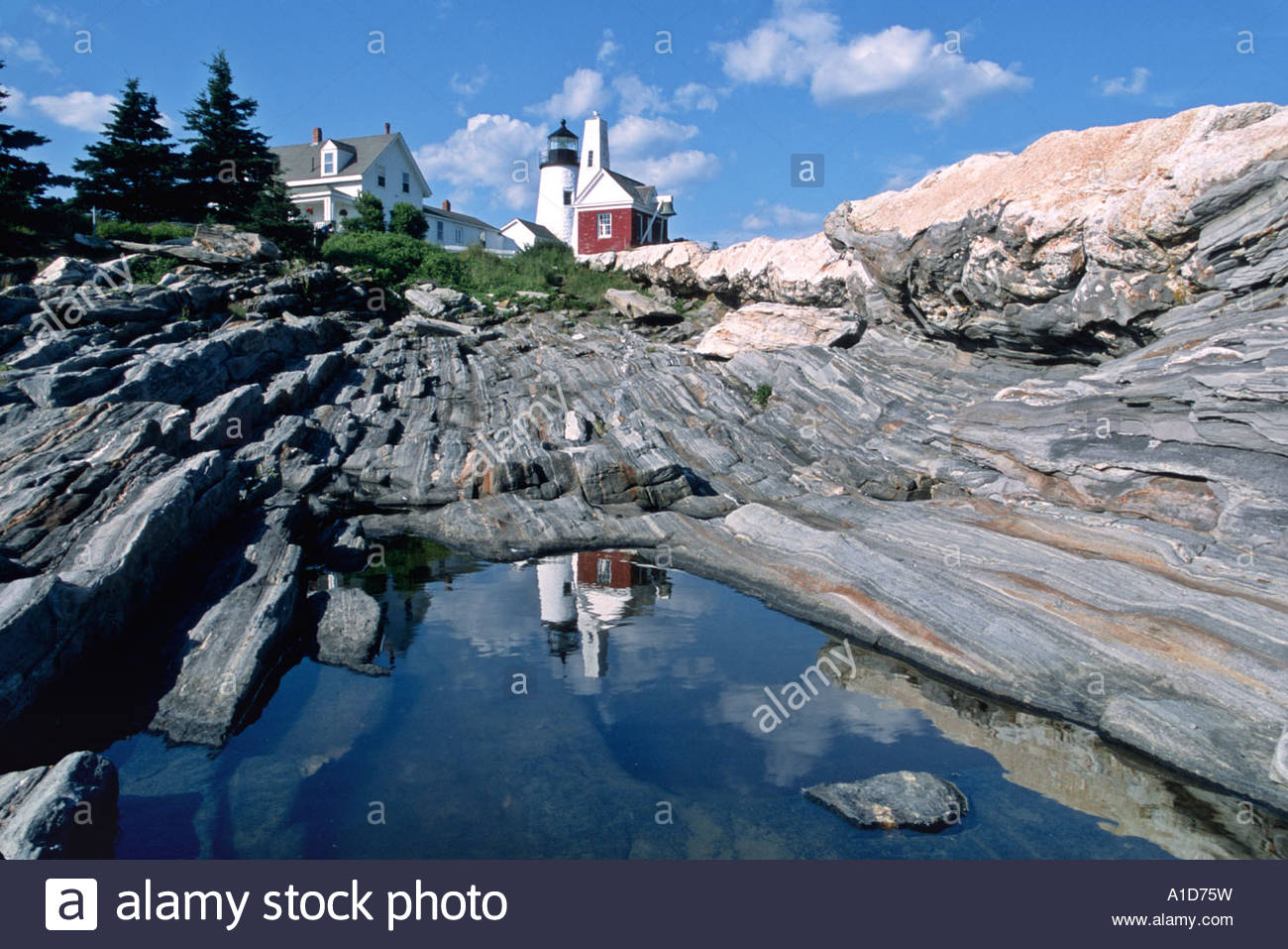 The Pemaquid lighthouse reflects in a nearby pool of water. Maine. - Stock Image