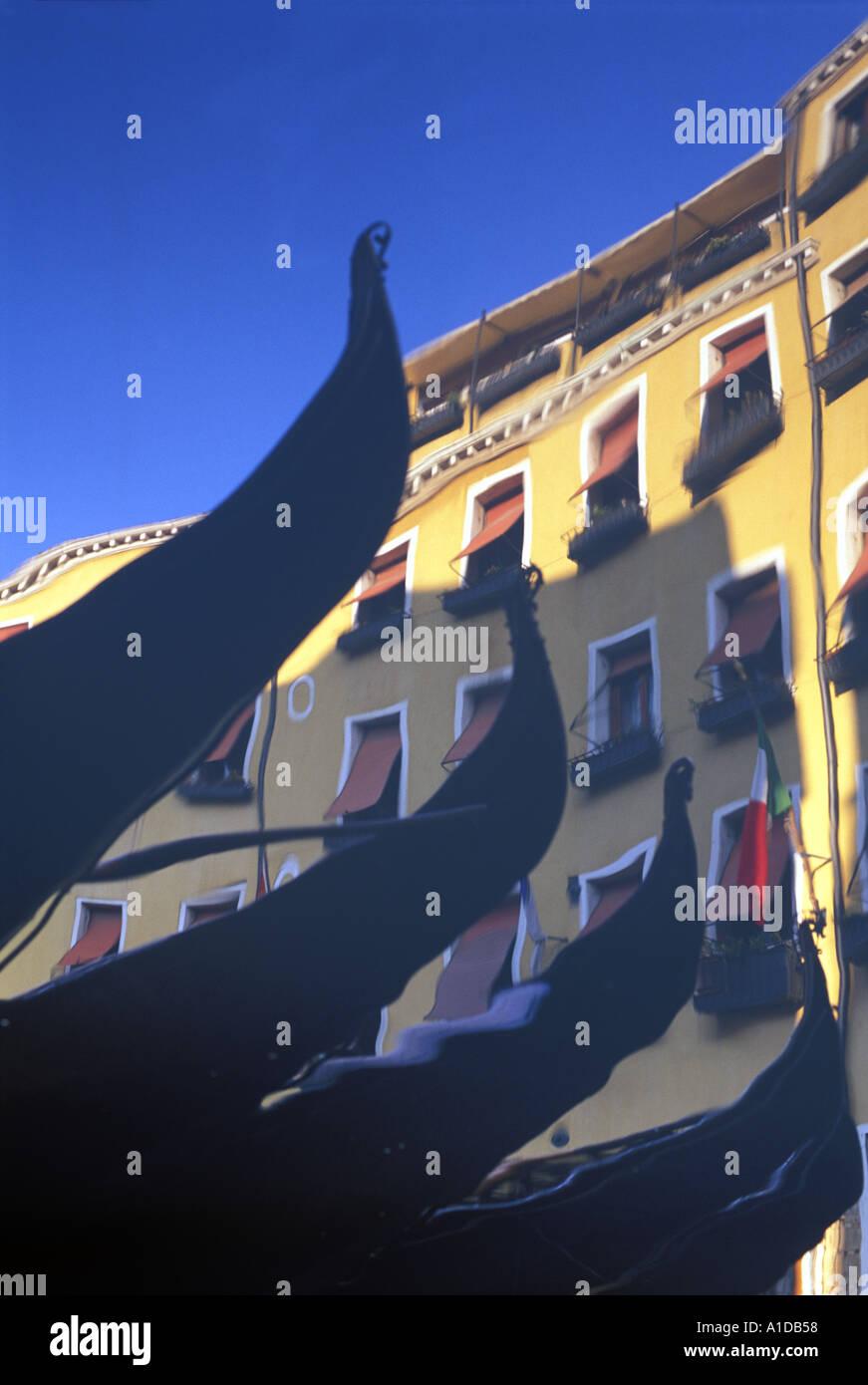 Italy Venice Gondolas reflecting in Bacino Orseolo - Stock Image