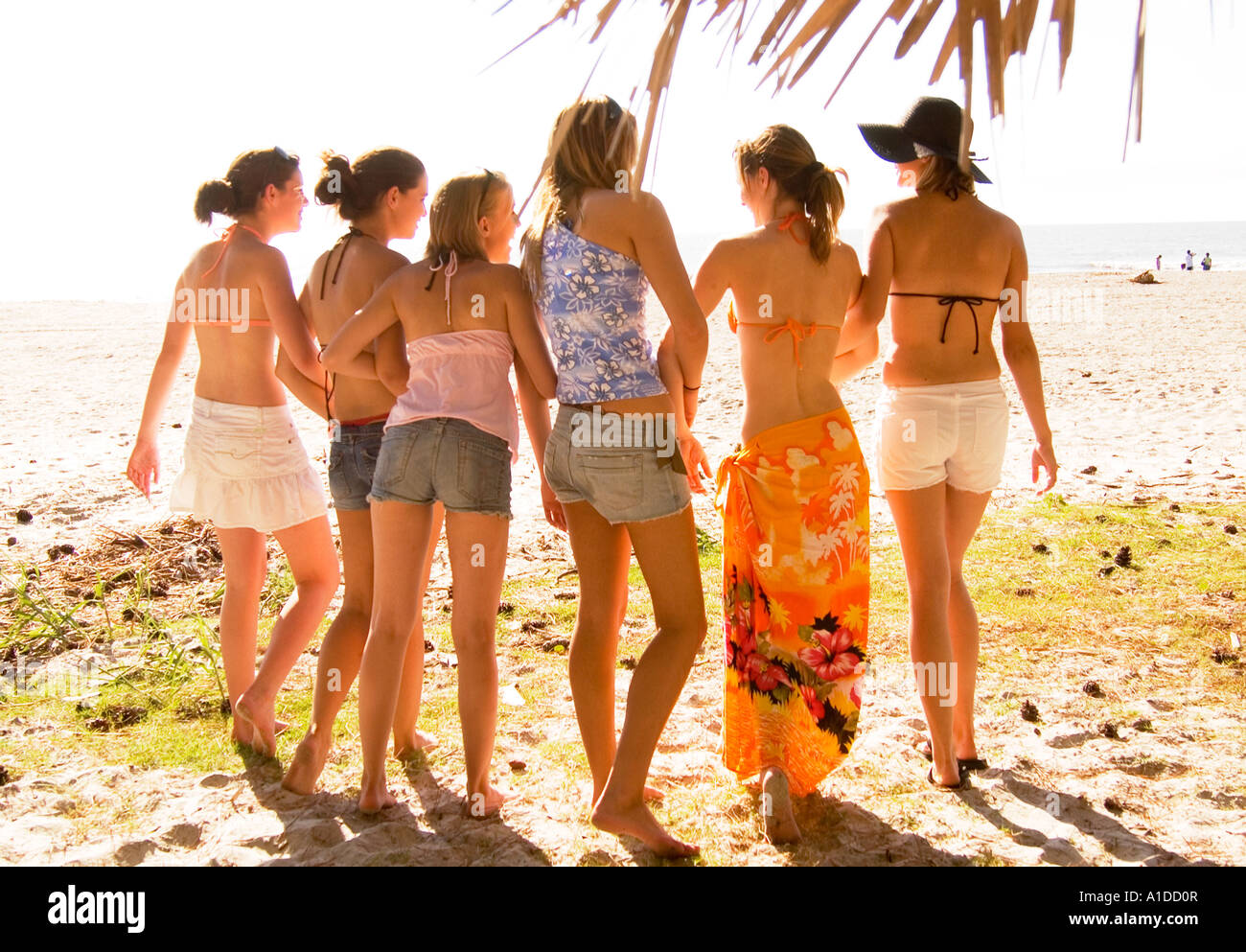 Six Caucasian Teen Girls (15-21) Walking Arm in Arm at Hunting Island, SC USA, Friendship and Togetherness Stock Photo