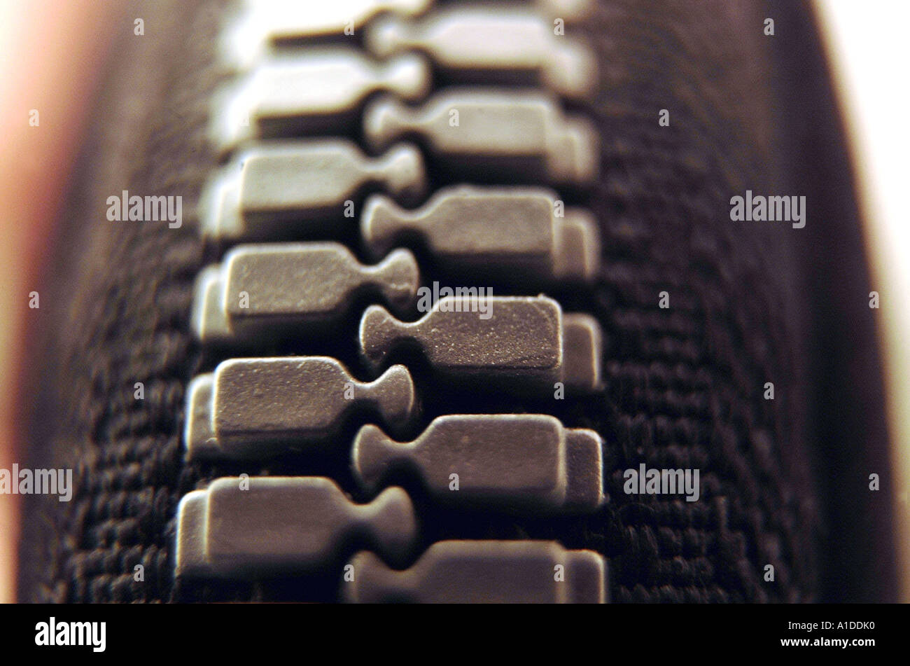 Close-up of a zipper - Stock Image