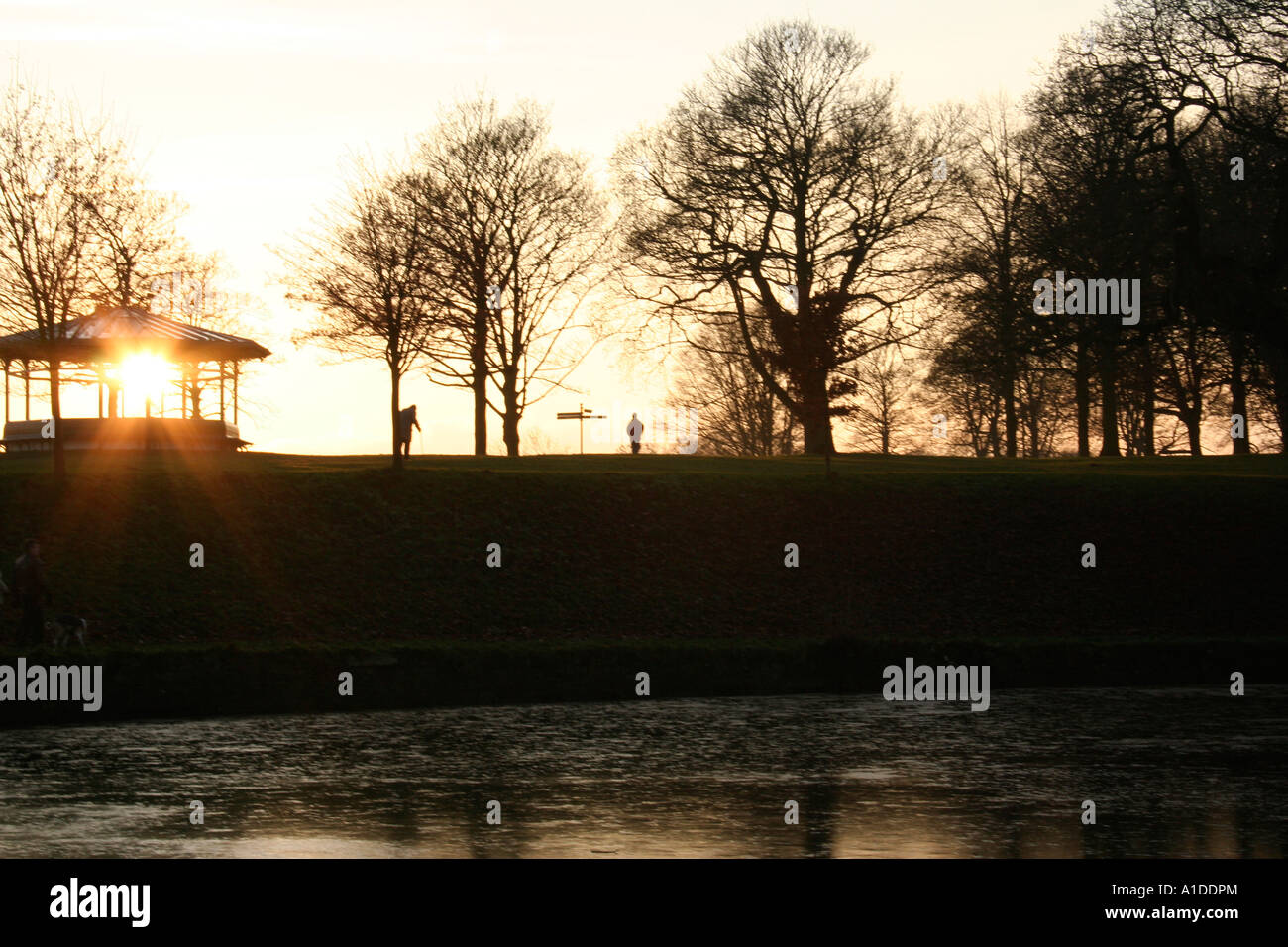 Roundhay Park in Leeds at sunset Stock Photo