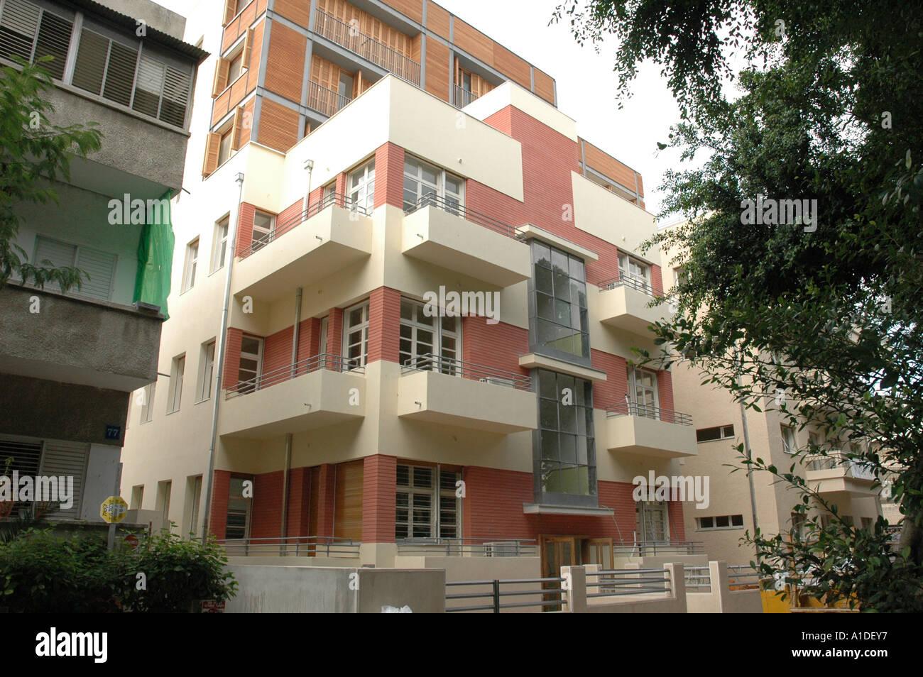 Old Bauhaus style building in Rothschild Boulevard Tel Aviv Israel - Stock Image