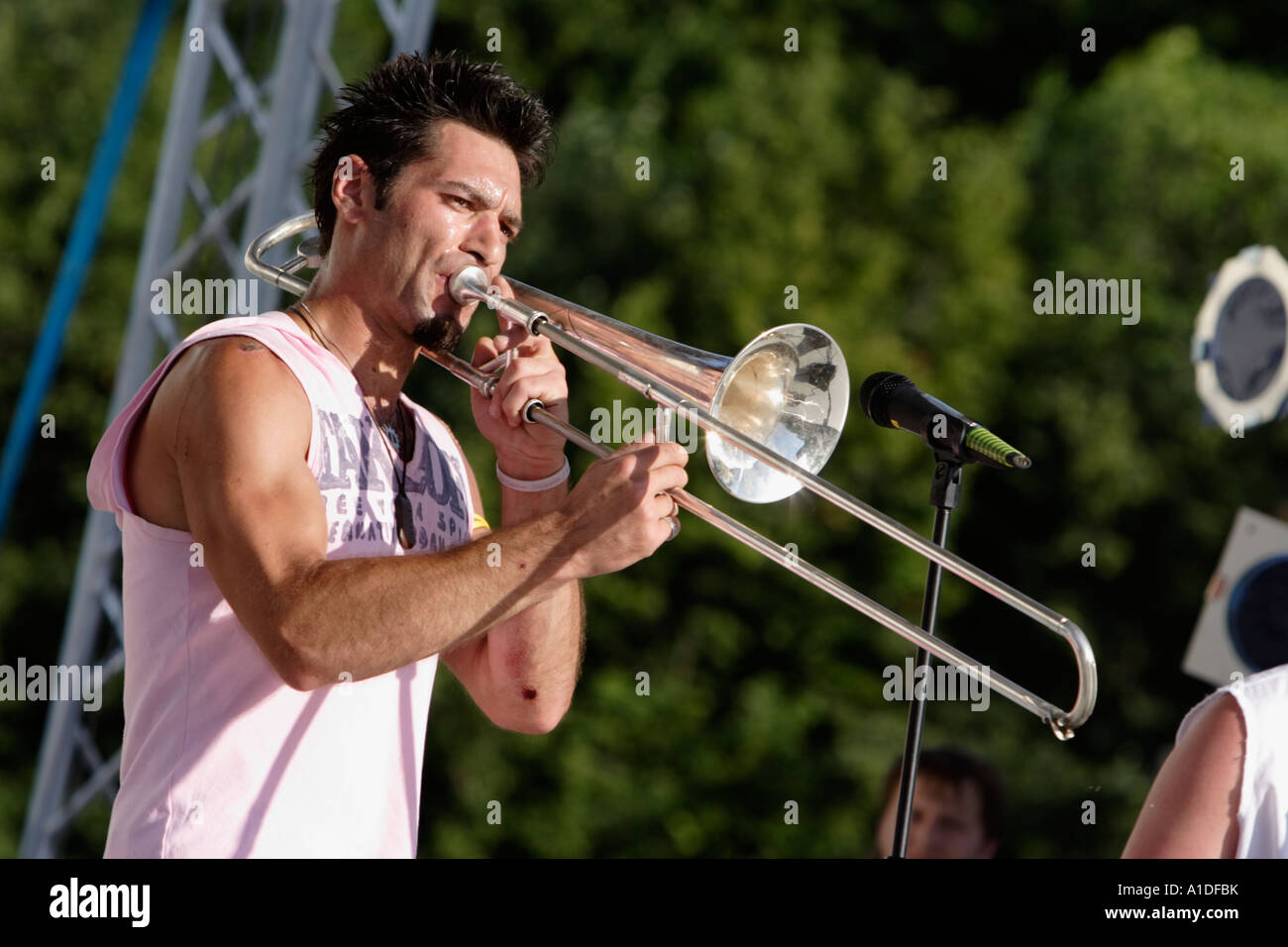 Dmytgro Herasymjuk from the ukrainian ethno hip hop band HUTSUL KALIPSO performs at the folk festival KRAINA MRIY - Stock Image