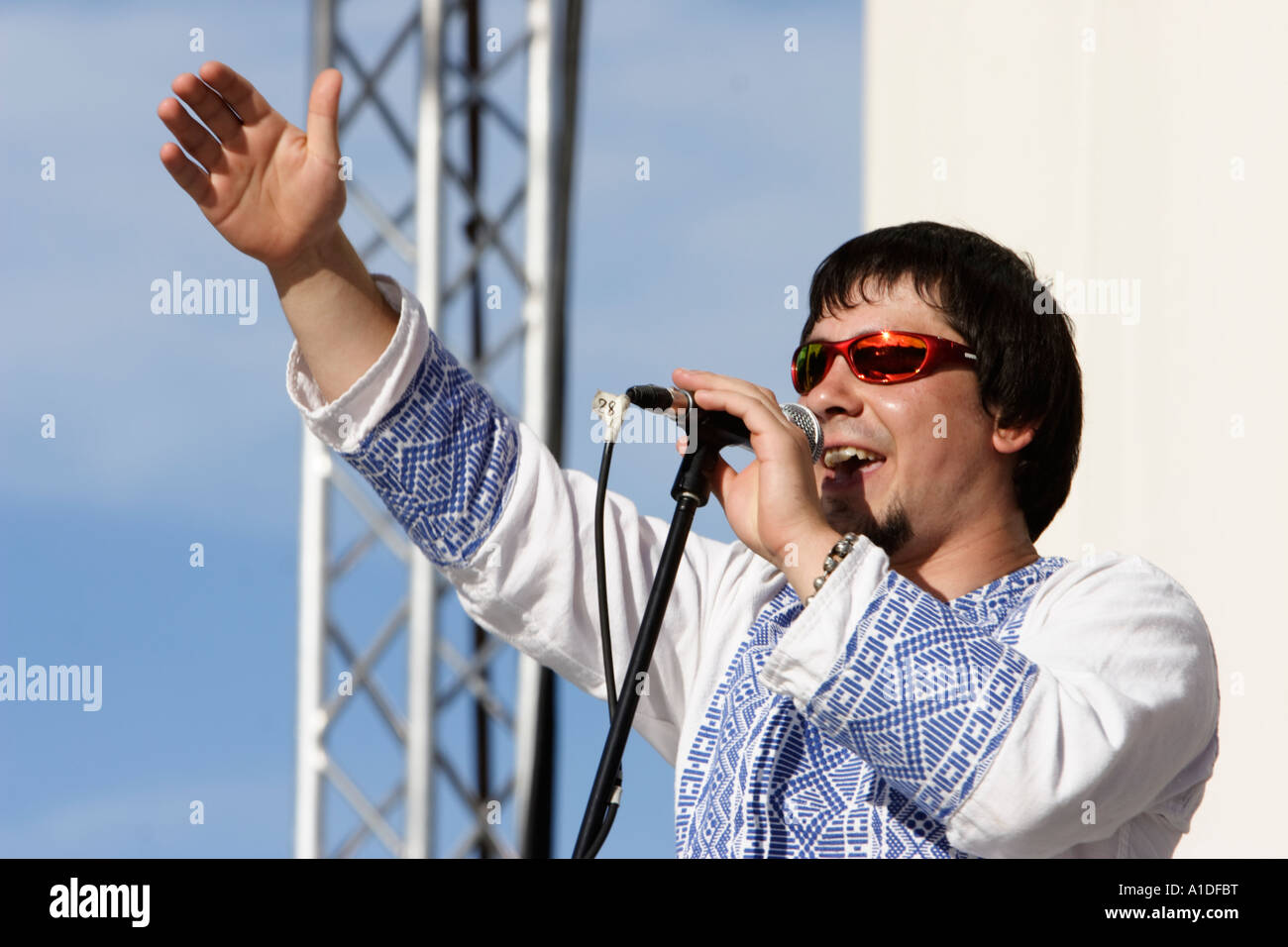Ukrainian ethno hip hop band HUTSUL KALIPSO performs at the folk festival KRAINA MRIY - Stock Image