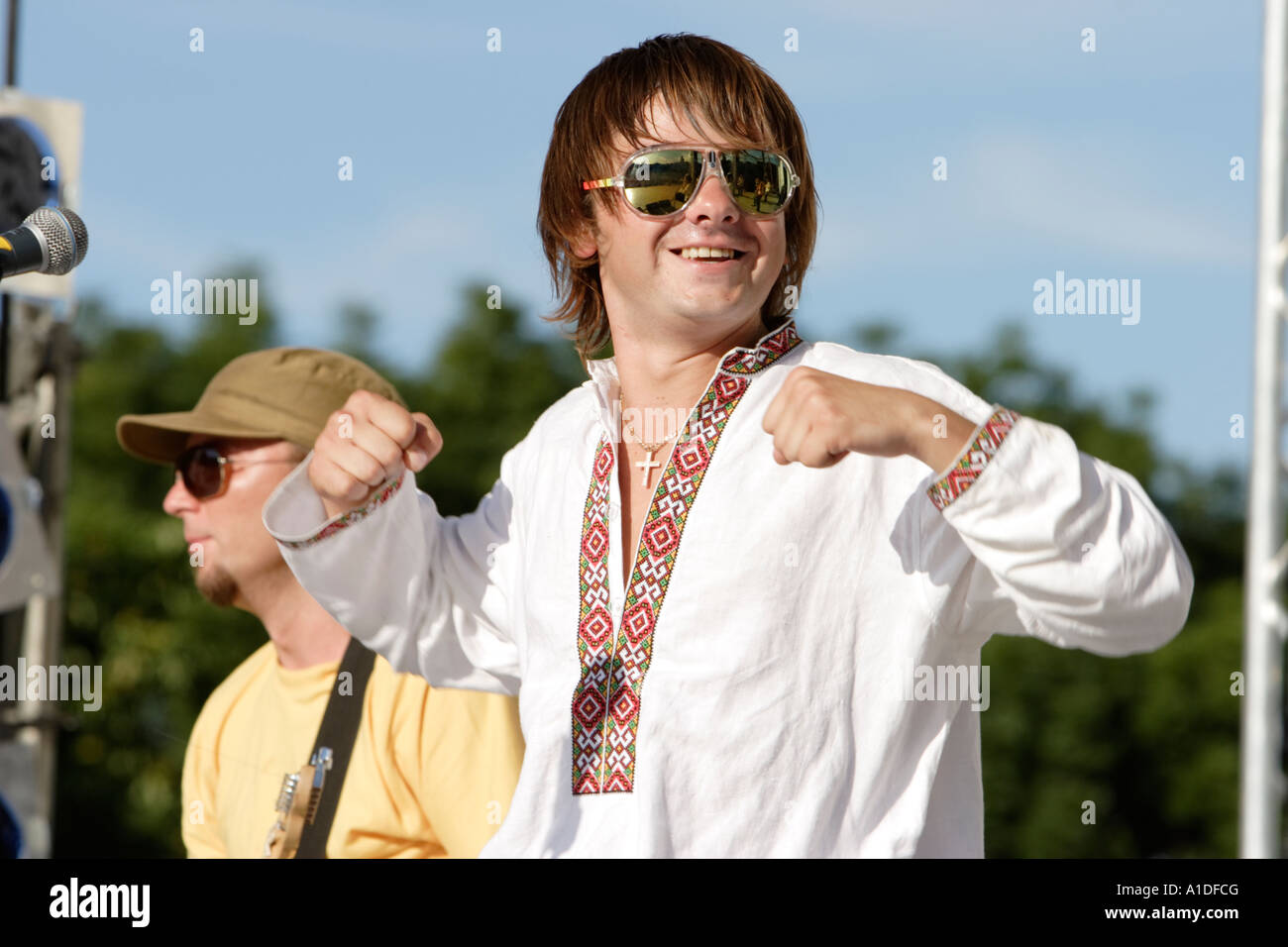UKRAINE KIEV. July 09, 2006. Singer of the ukrainian ethno hip hop band HUTSUL KALIPSO Bogdan Fedchuk - Stock Image