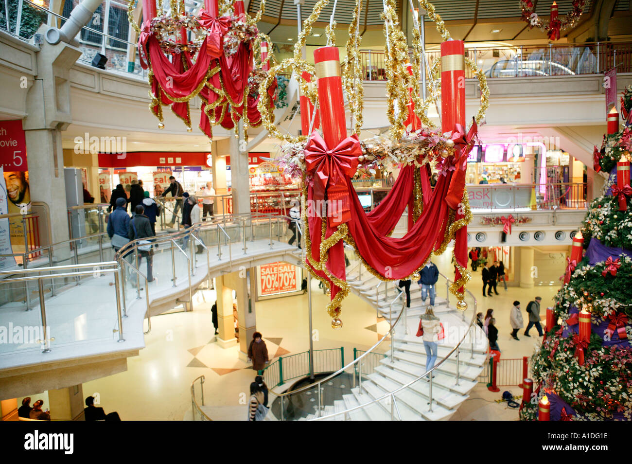 Christmas decorations shopping mall uk stock photo for Retail christmas decorations ideas