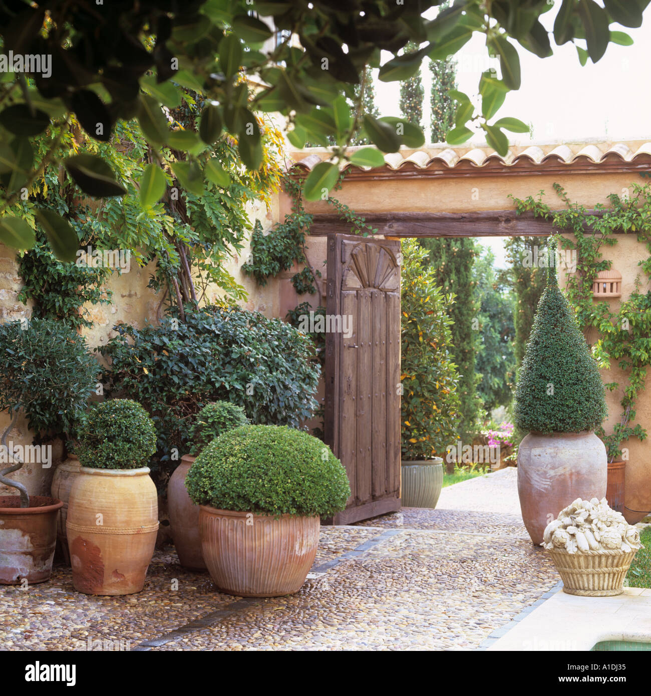 Mediterranean Villa Entrance With Terracotta Pots Stock