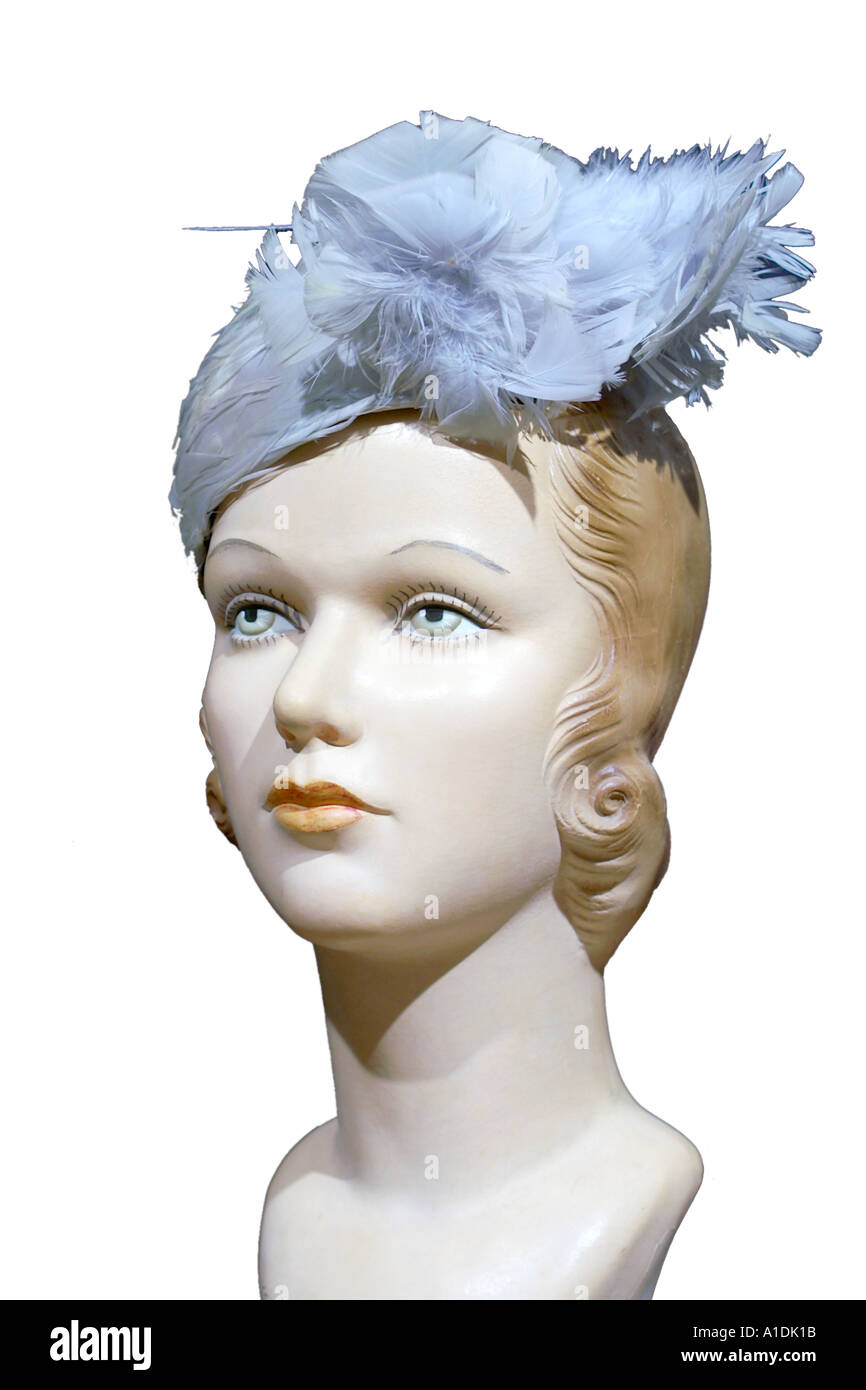 1920s womens blue feather hat - Stock Image