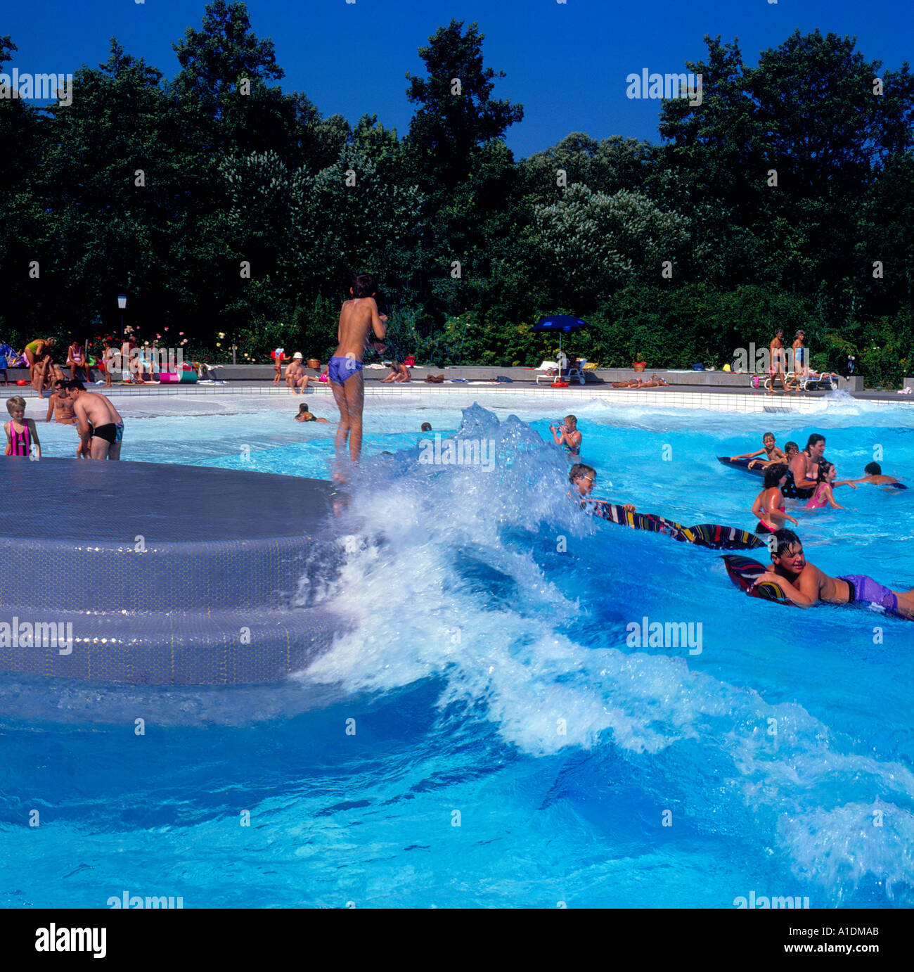 Public Swimming Pool Bavaria Germany People Swim Waves Fun Photo By Willy Matheisl